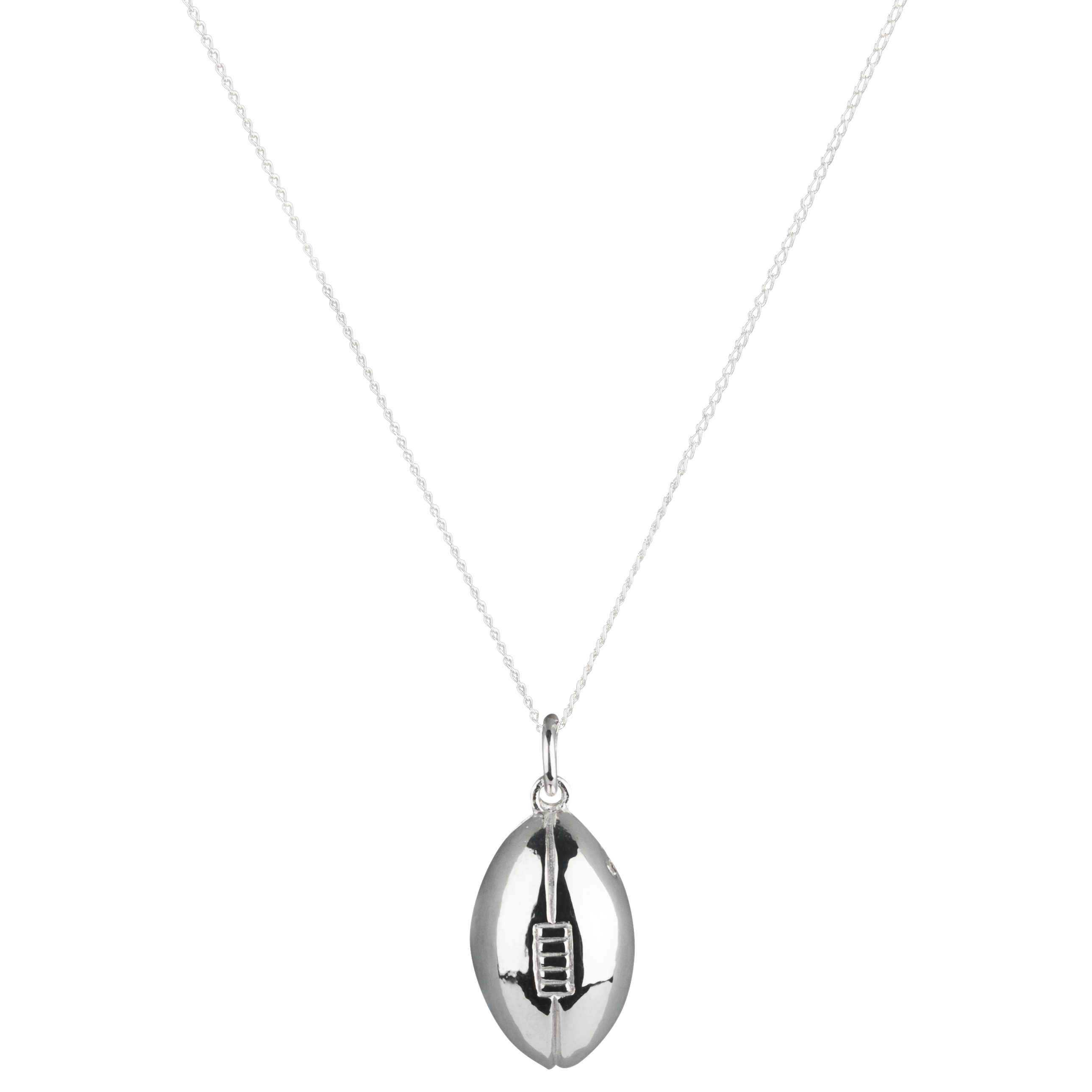England Rugby Ball Sterling Silver Pendant and Chain