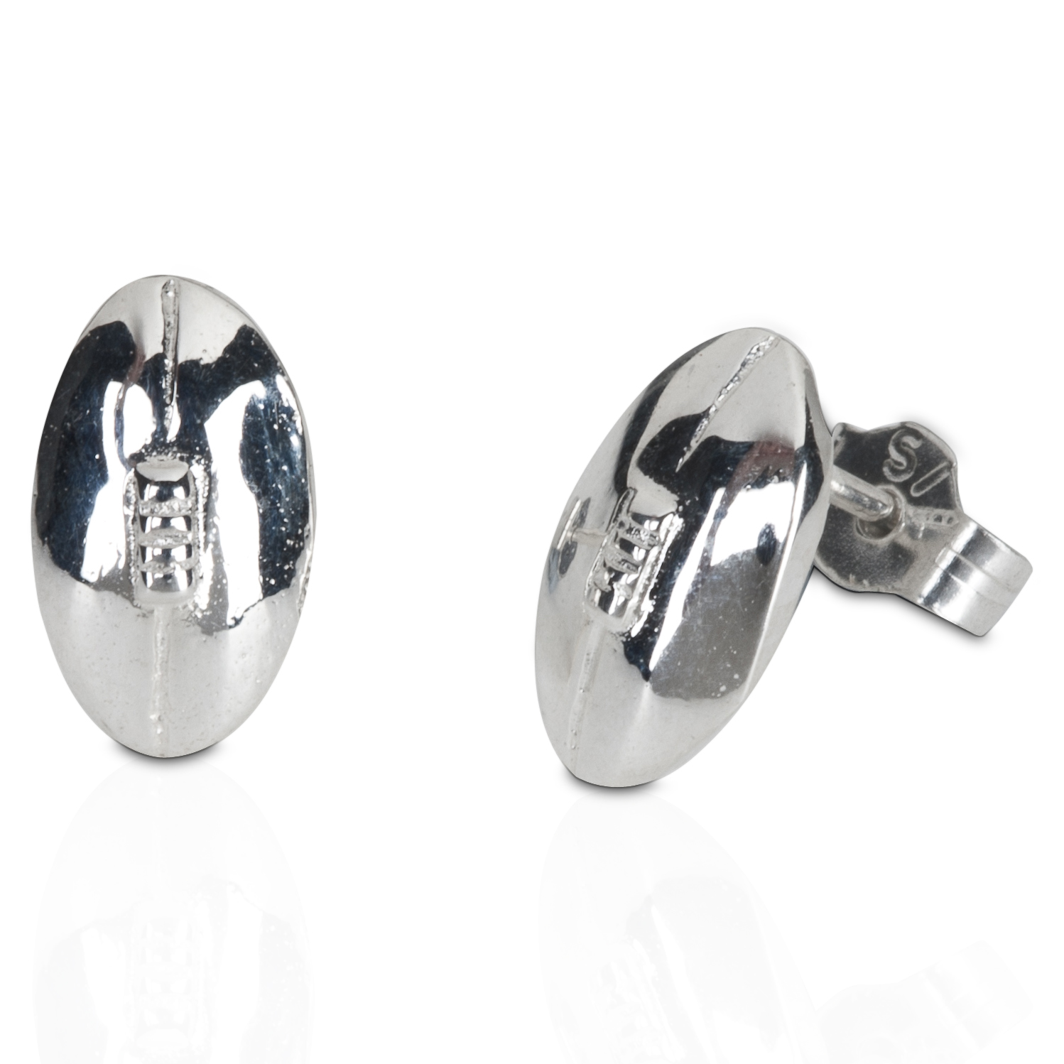 England Rugby Ball Stud Sterling Silver Earrings - Pair