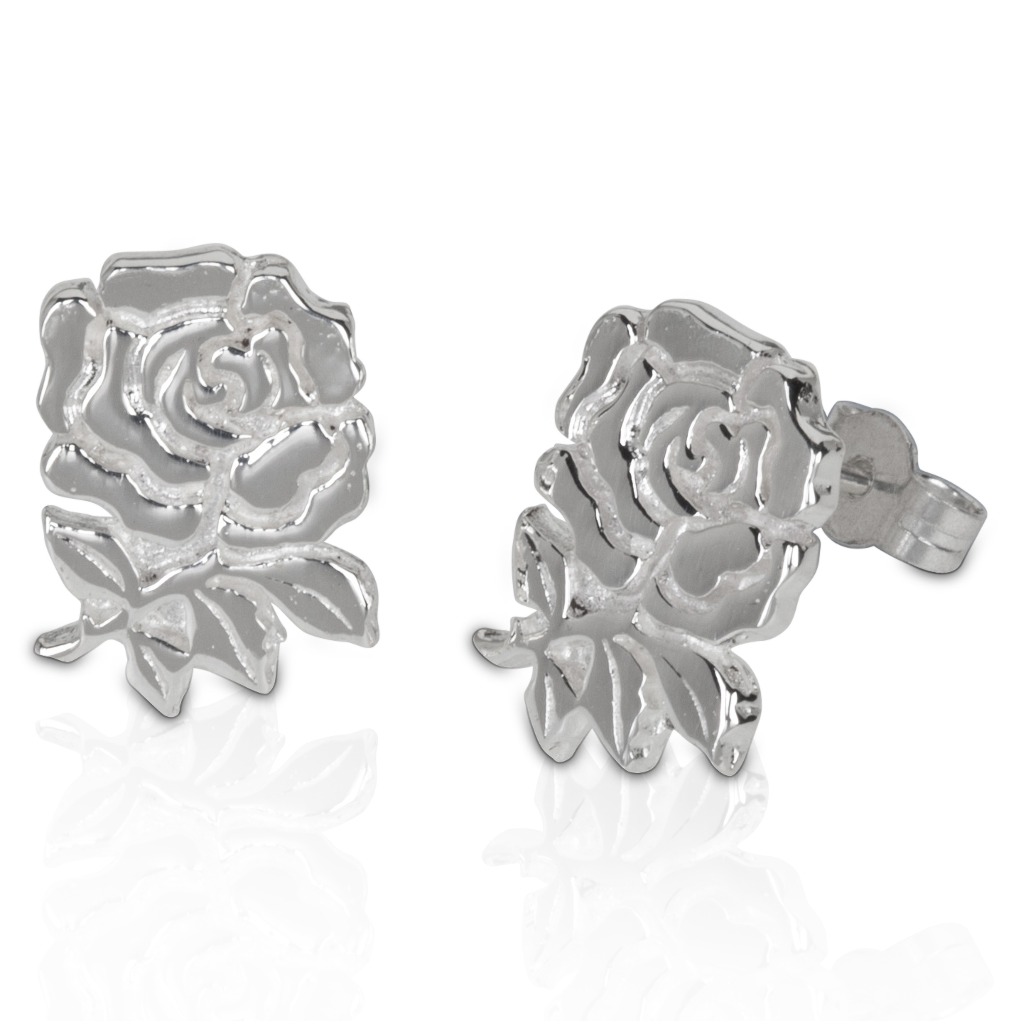 England Rugby Large Rose Stud Sterling Silver Earrings - Pair