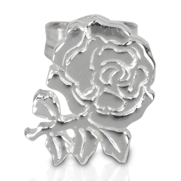 England Rugby Small Rose Stud Sterling Silver Earrings - Single