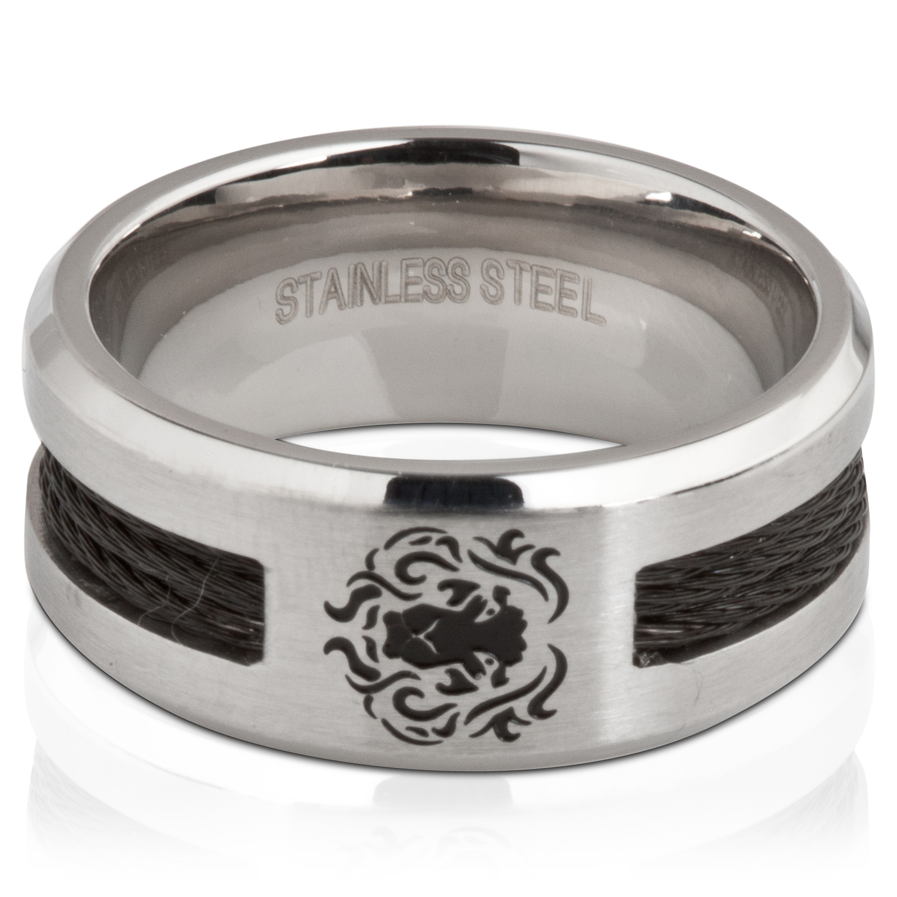 England Rugby Rose Black Inlay Stainless Steel Ring