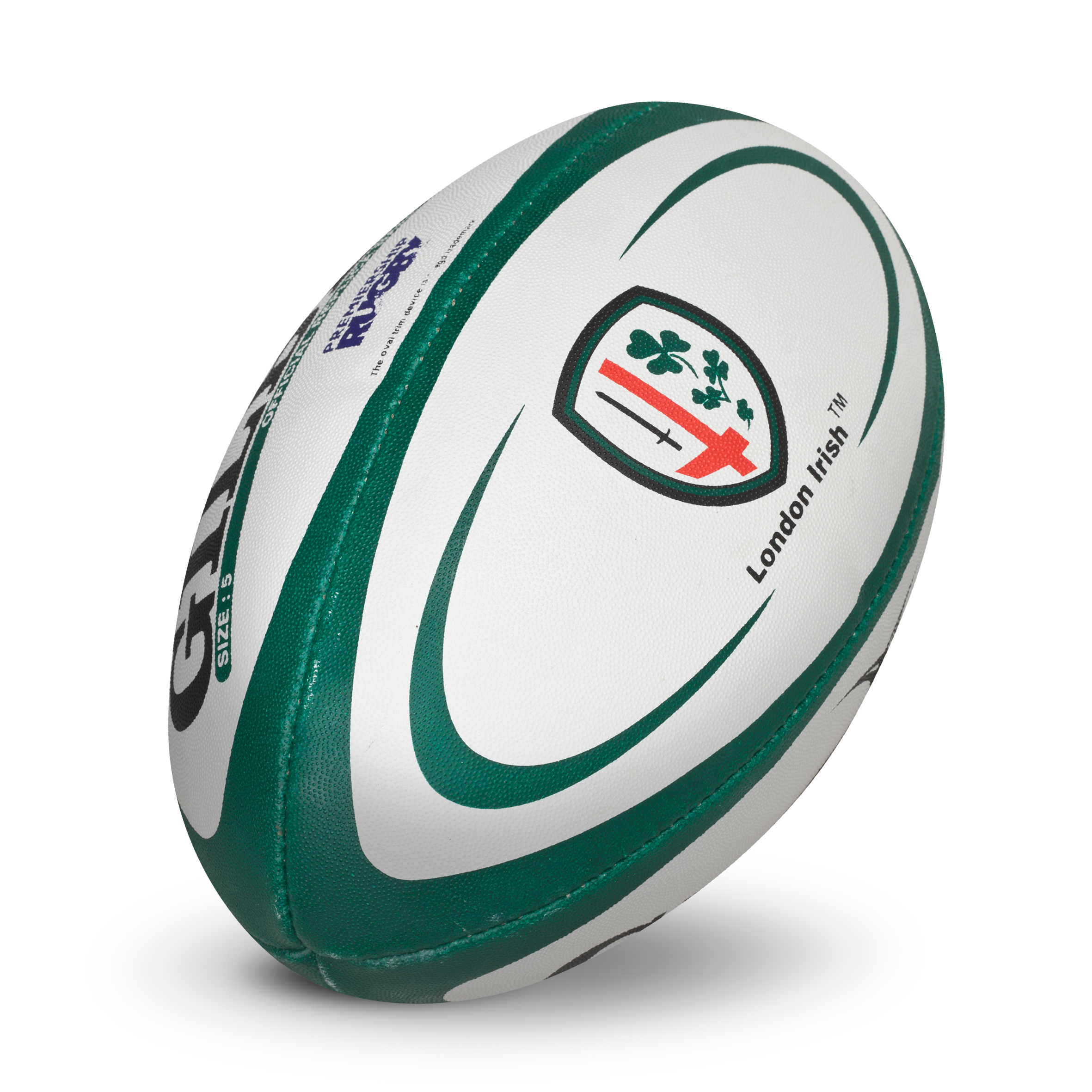 Gilbert Replica Rugby Ball - Size 5 - White/Green