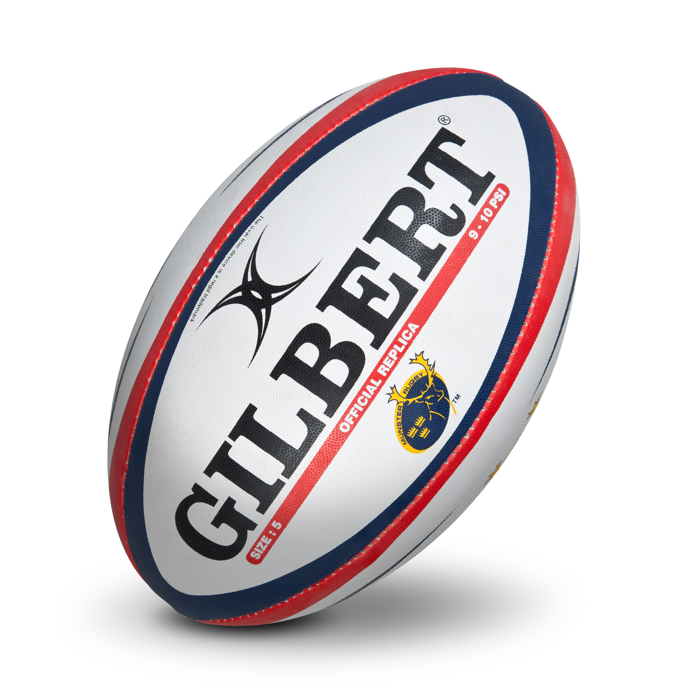 Gilbert Munster Replica Rugby Ball - Size 5 - White/Red