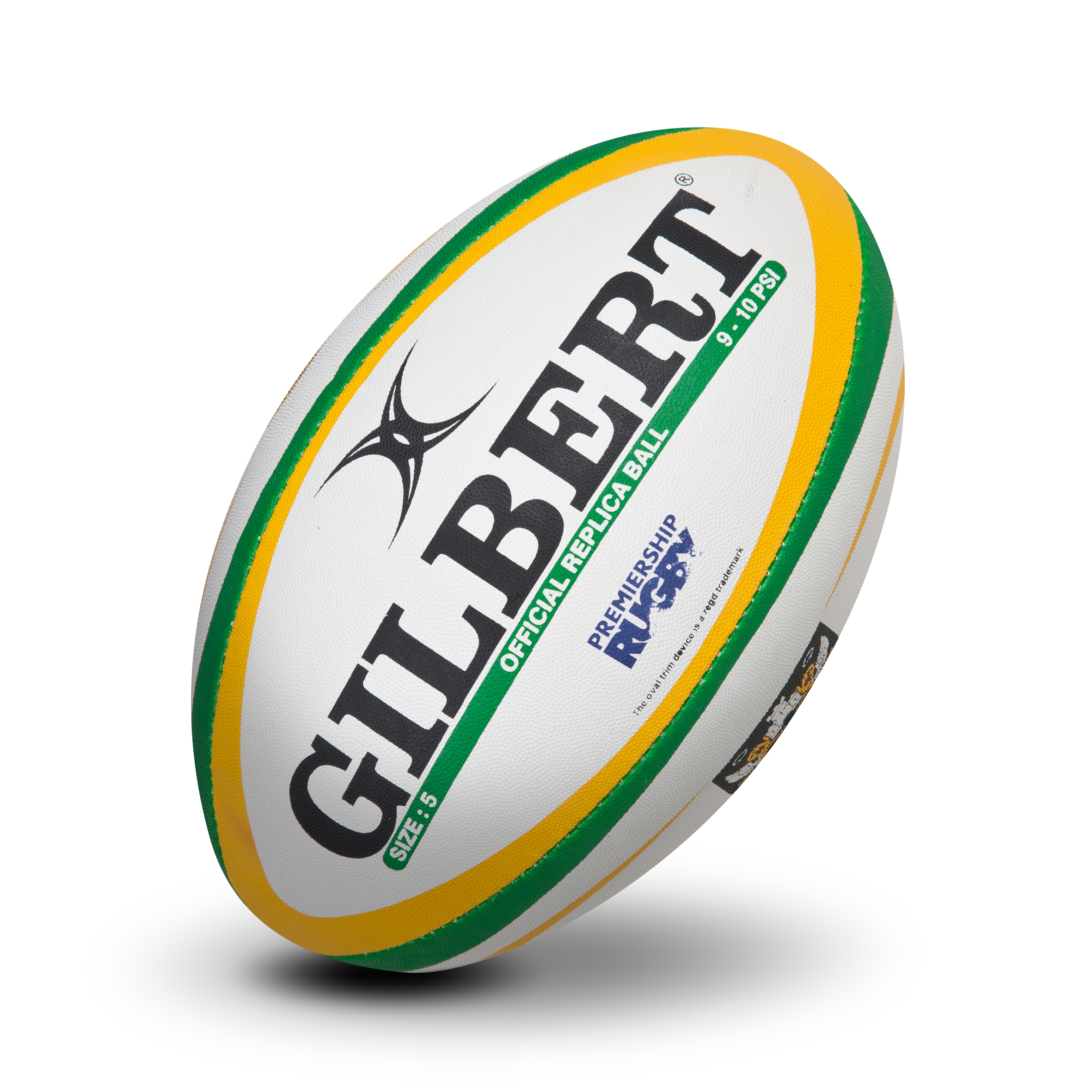 Gilbert Replica Rugby Ball - Green/Navy - Size 5 - White/Green/Yellow
