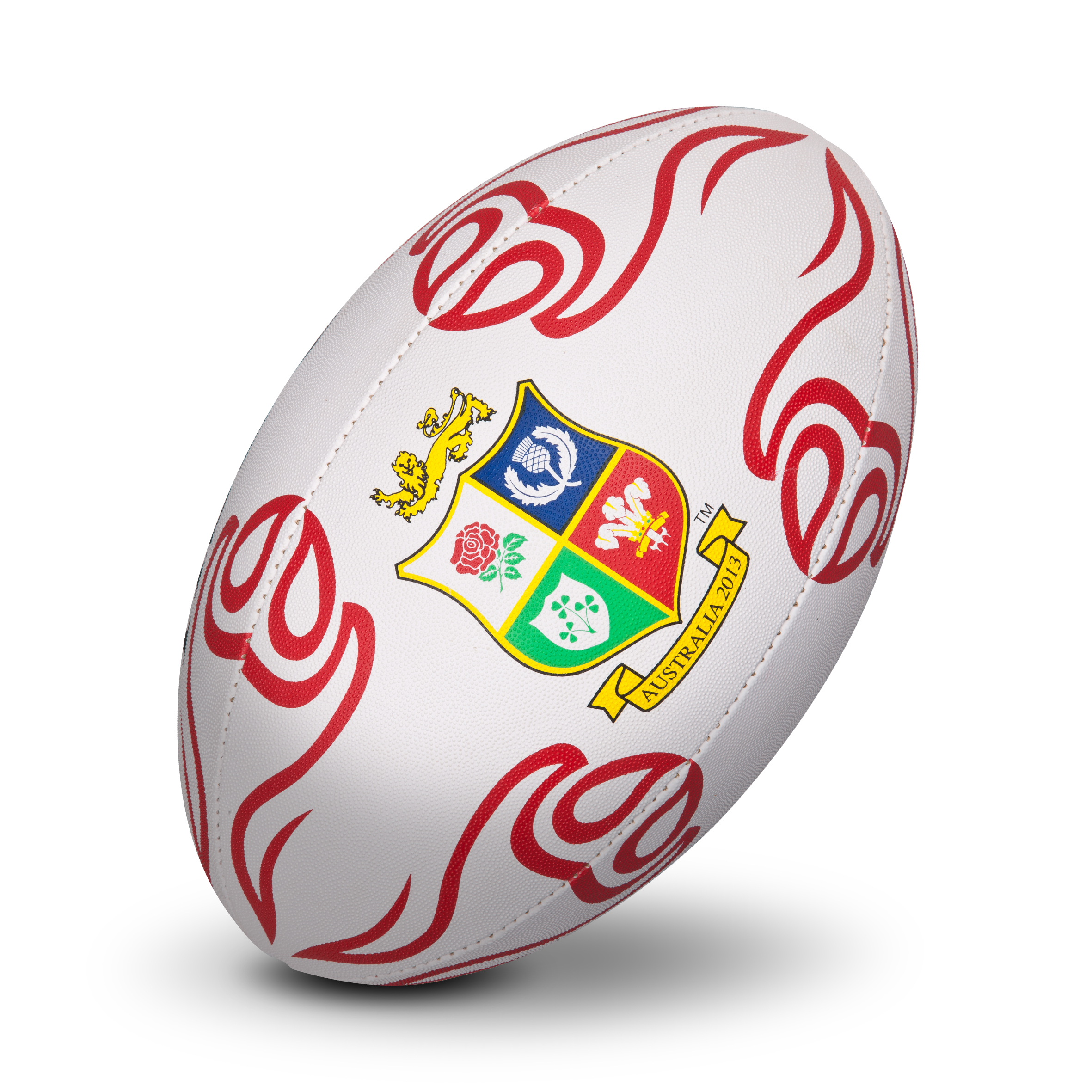 British and Irish Lions Supporters Rugby Ball - White/Red