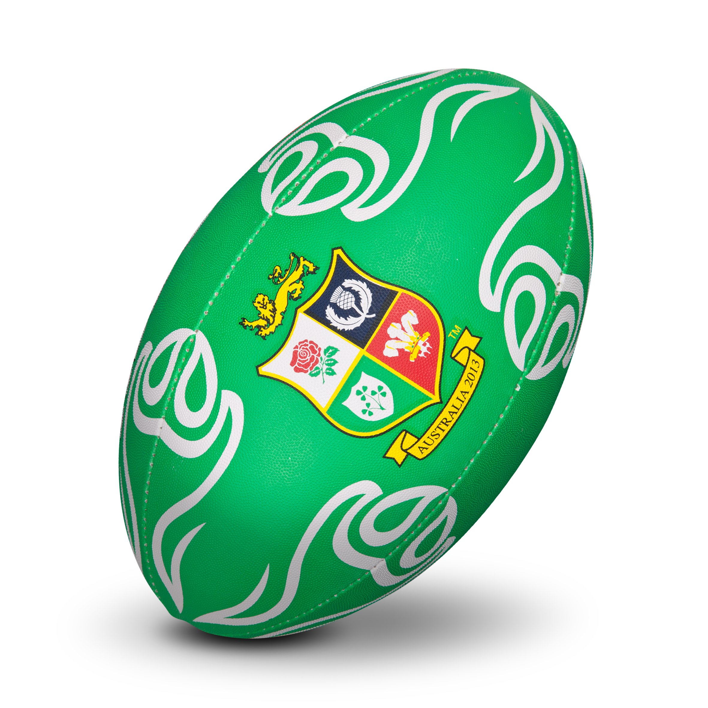 British and Irish Lions Supporters Rugby Ball - Green/White