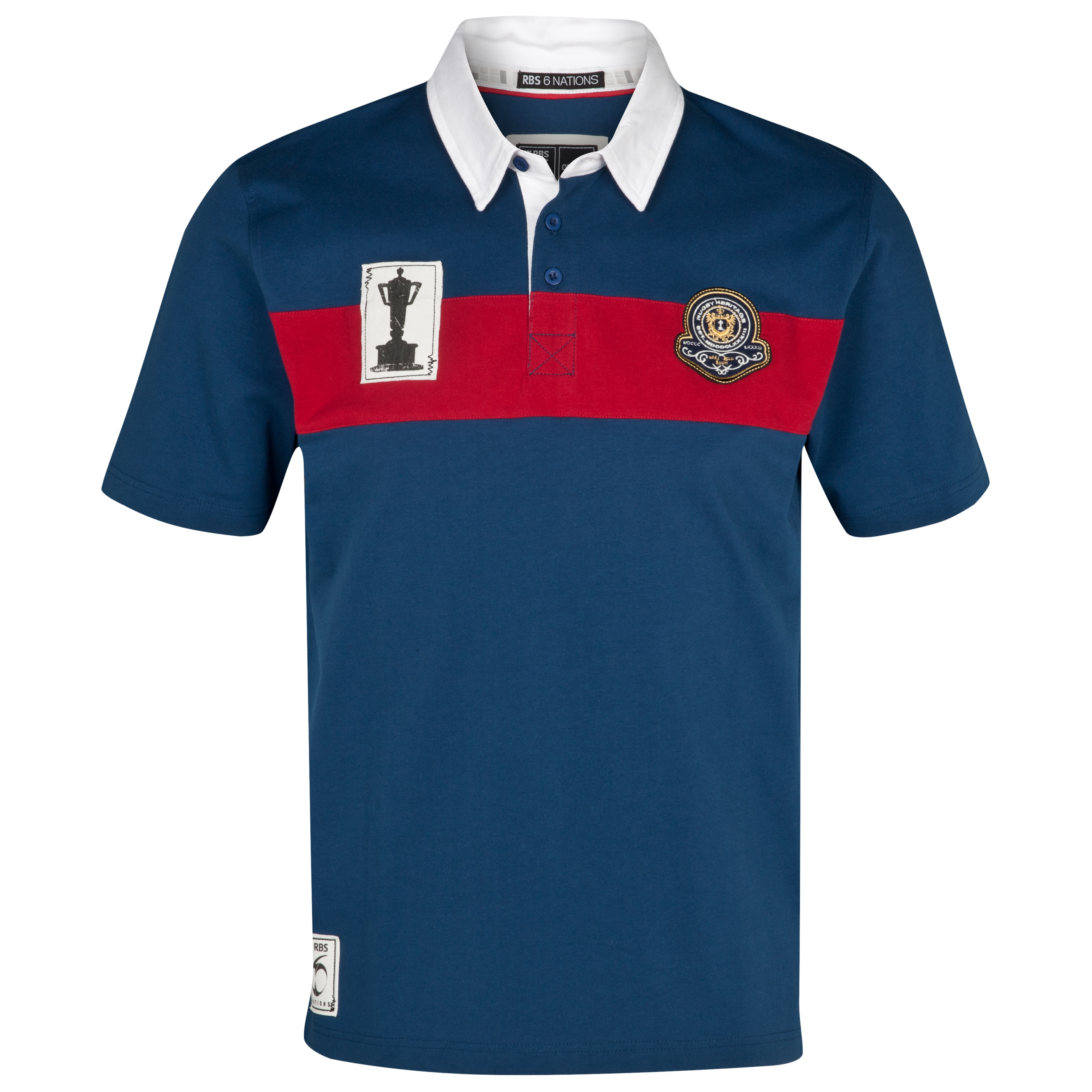 RBS 6 Nations Heritage Short Sleeved Rugby Shirt - Navy/Red