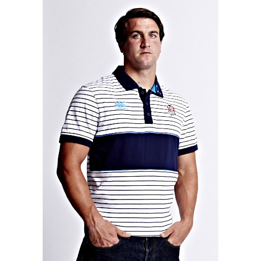 England Stripe Polo - Bright White White