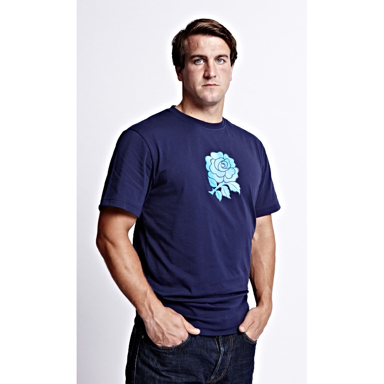 England Rose Graphic Cotton T-Shirt - Peacoat Navy