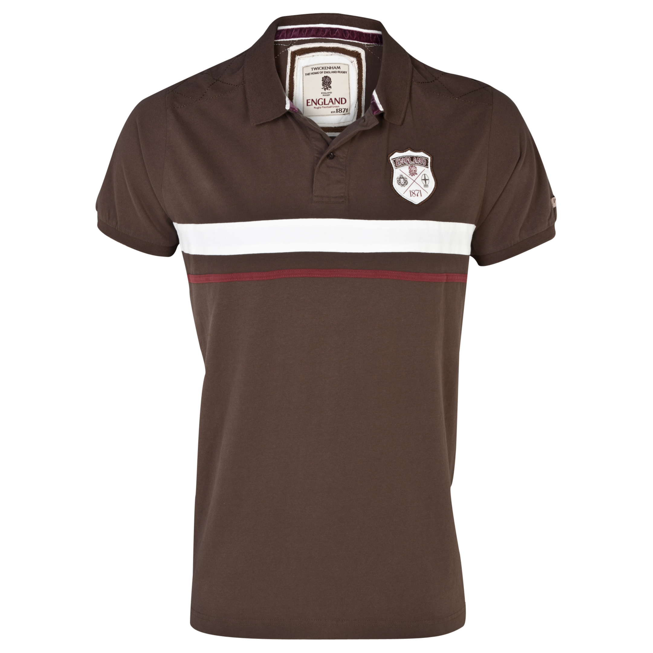 England Rugby Authentics Collection Blocked Jersey Polo Brown