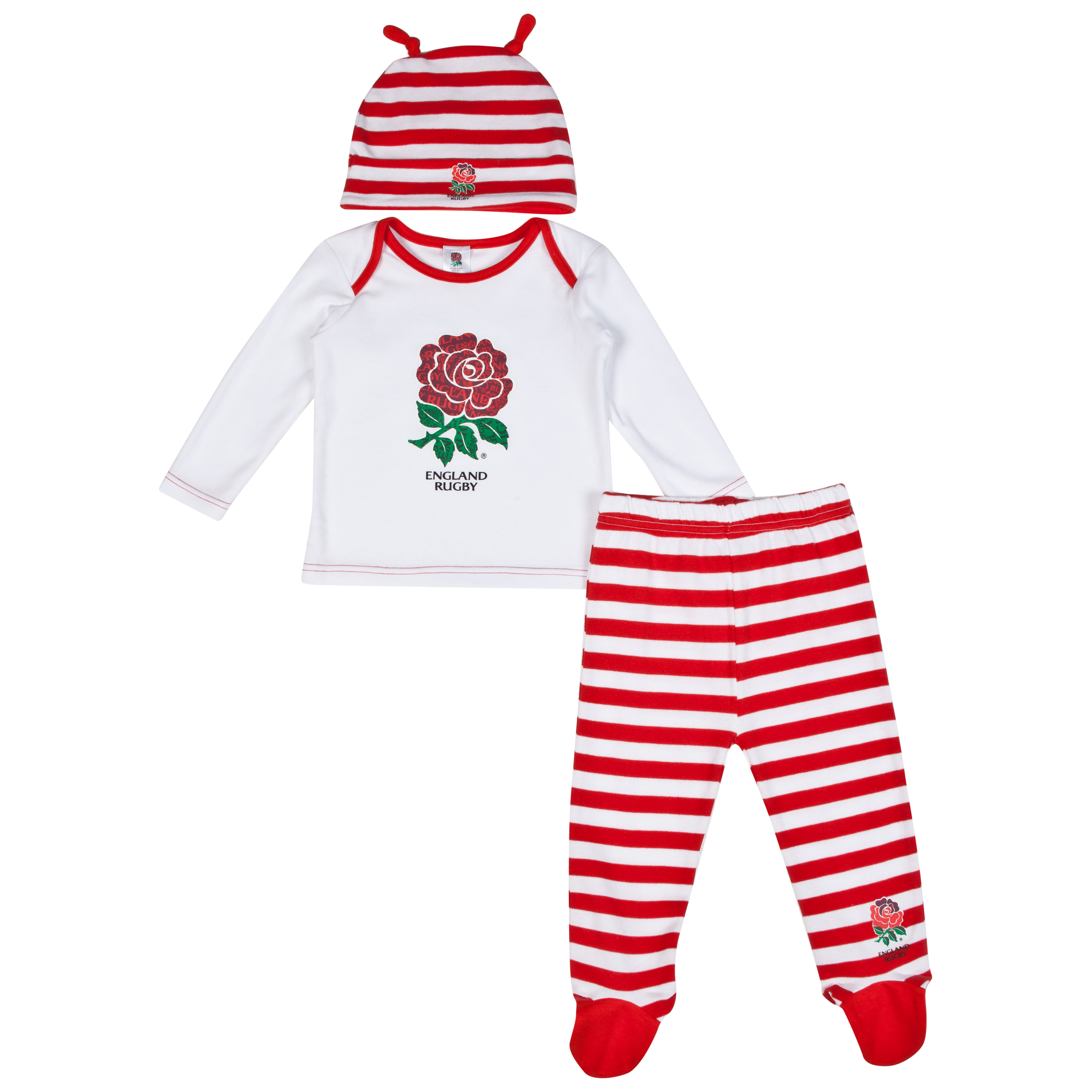 England Rugby 3 Piece Baby Set White