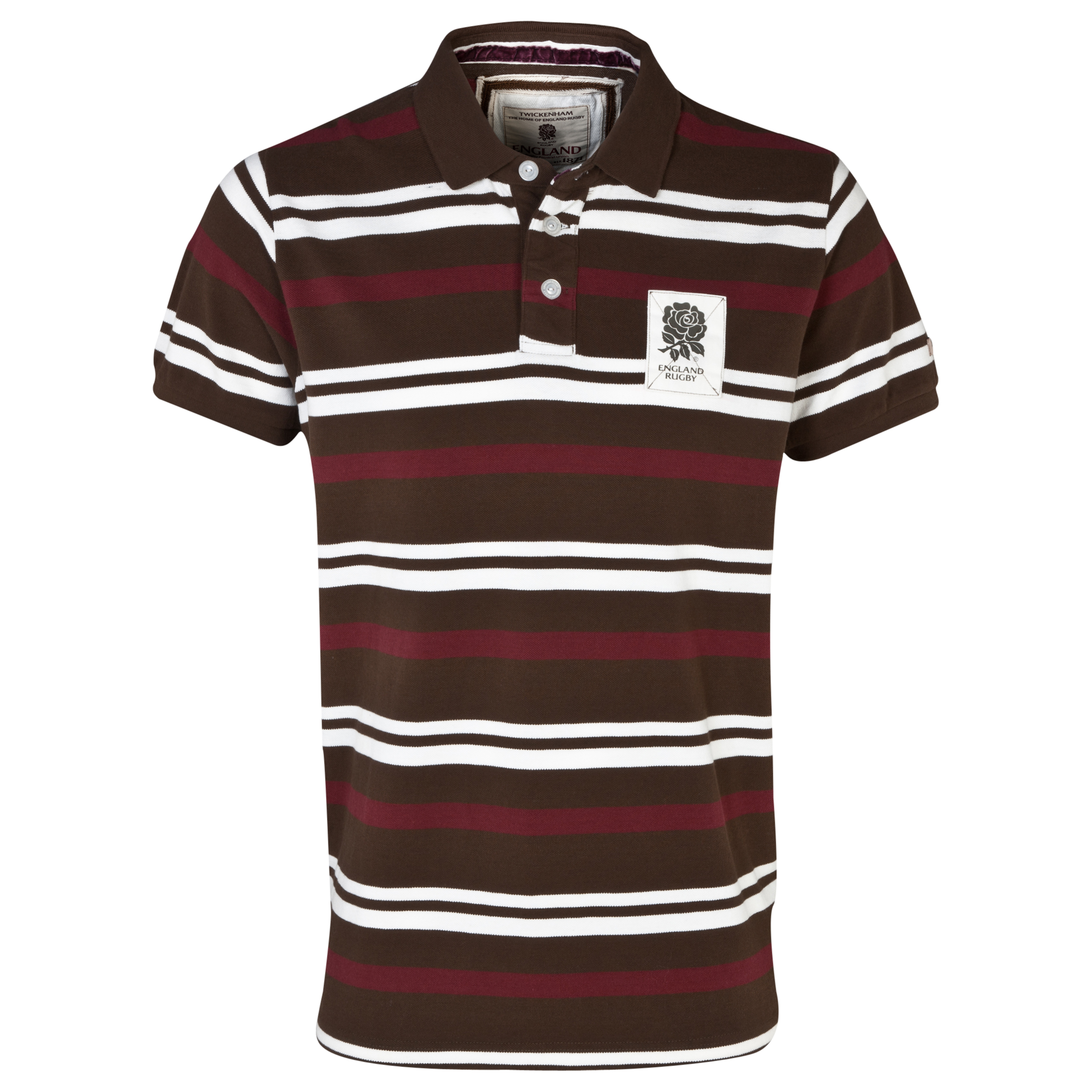 England Rugby Authentics Collection Striped Pique Polo Brown