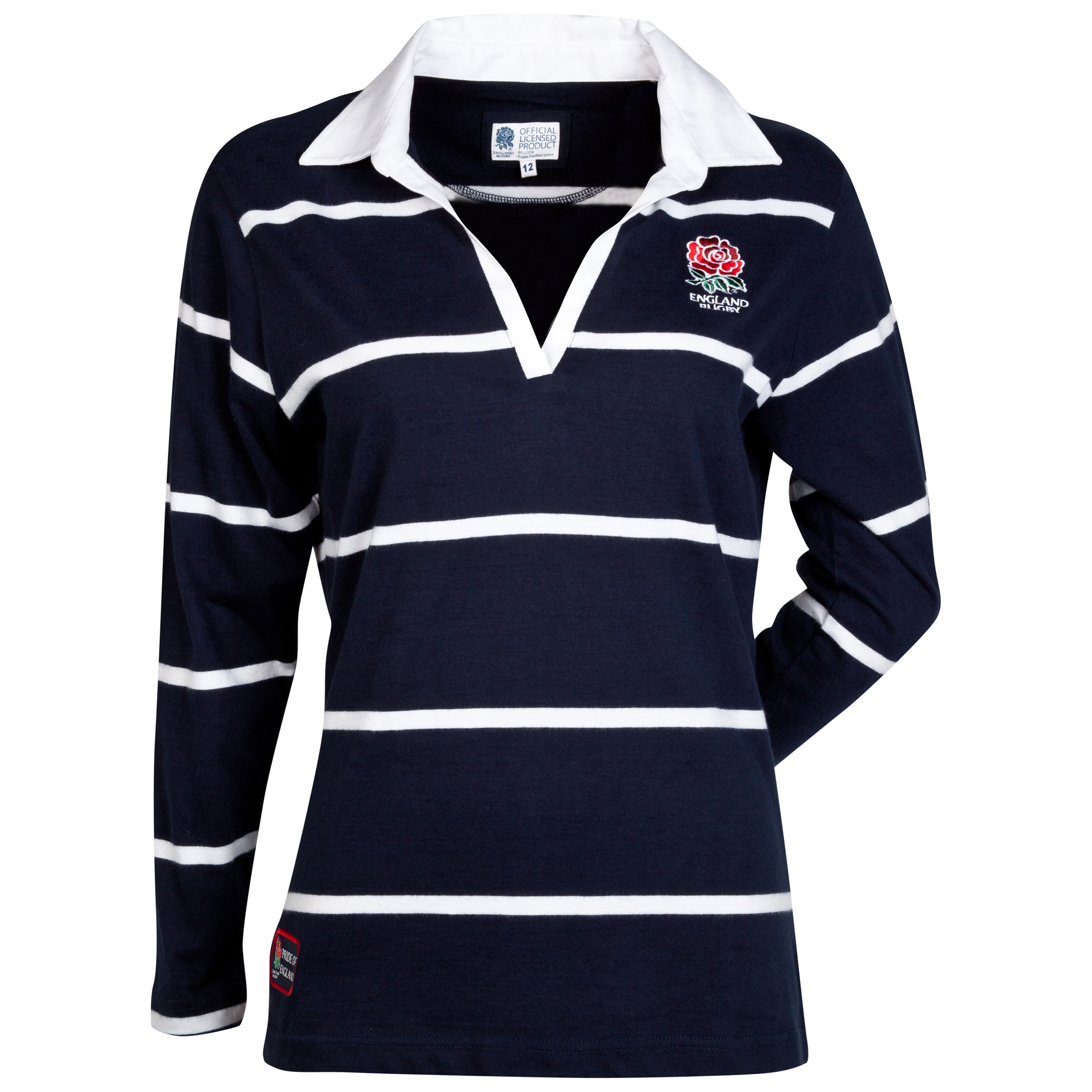 England Rugby Classics Collection Striped Long Sleeved Rugby Shirt - Womens Navy
