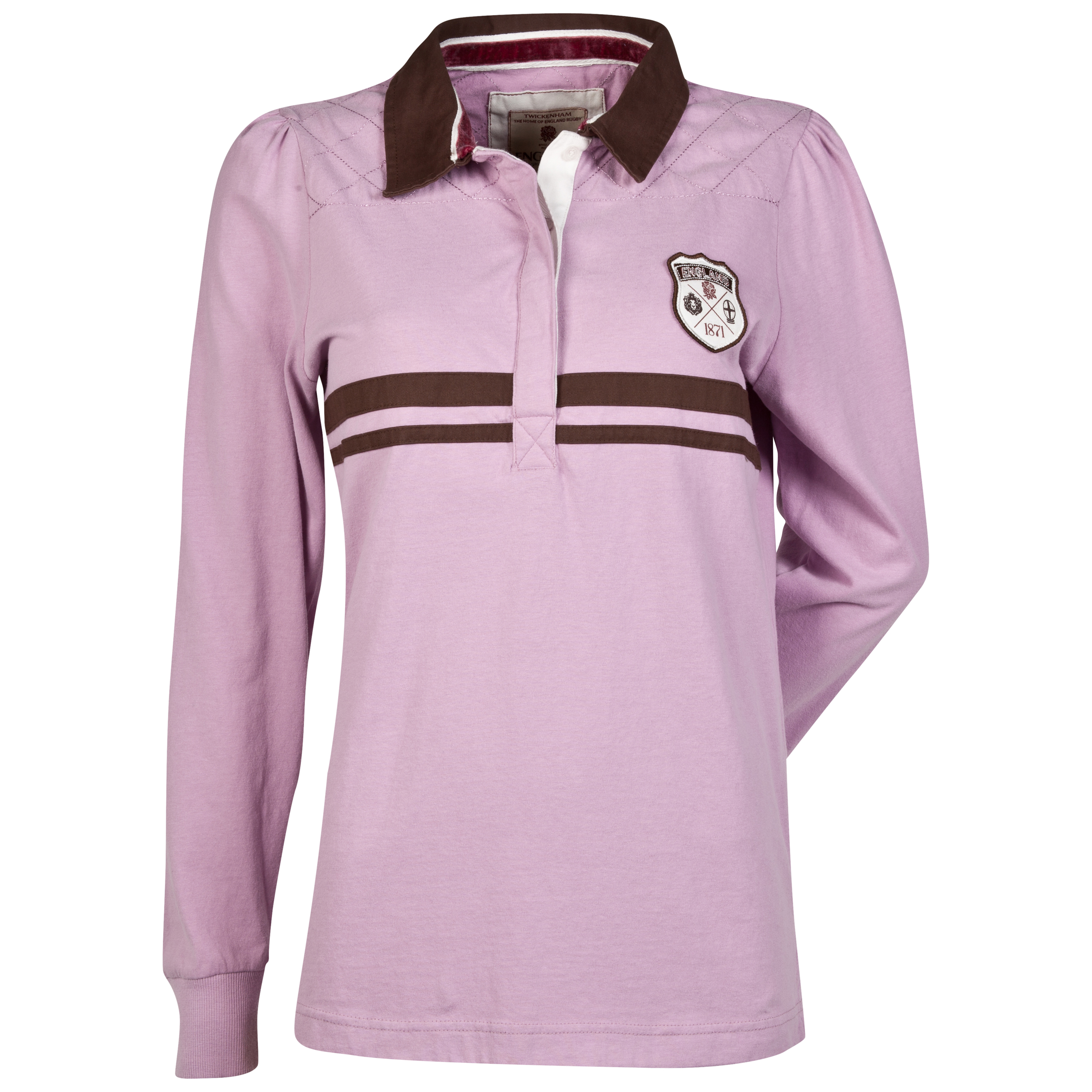 England Rugby Authentics Collection Shield Long Sleeved Polo - Womens Purple