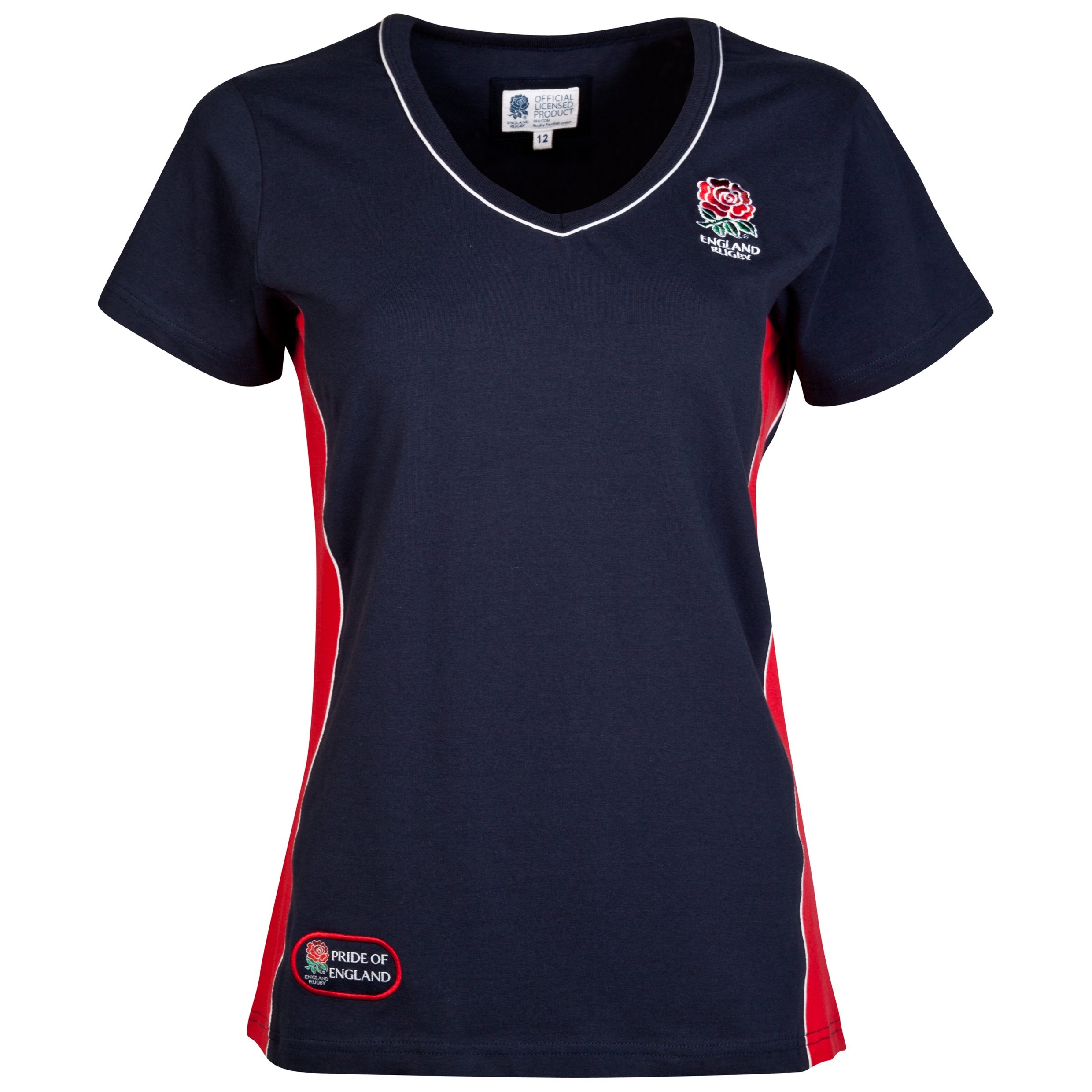 England Rugby Classics Collection V-Neck T-Shirt - Womens Navy