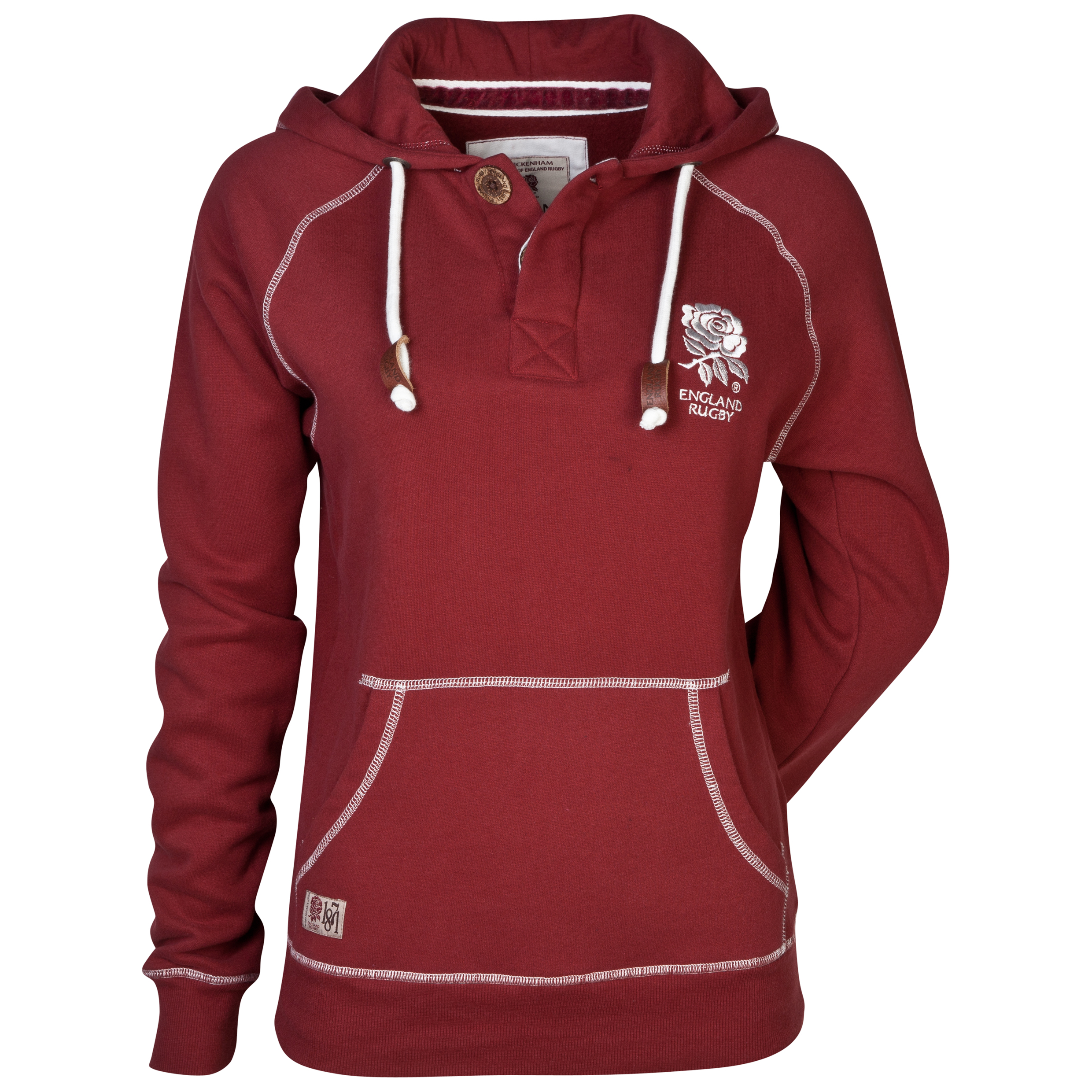 England Rugby Authentics Collection Placket Hoody - Womens Brown
