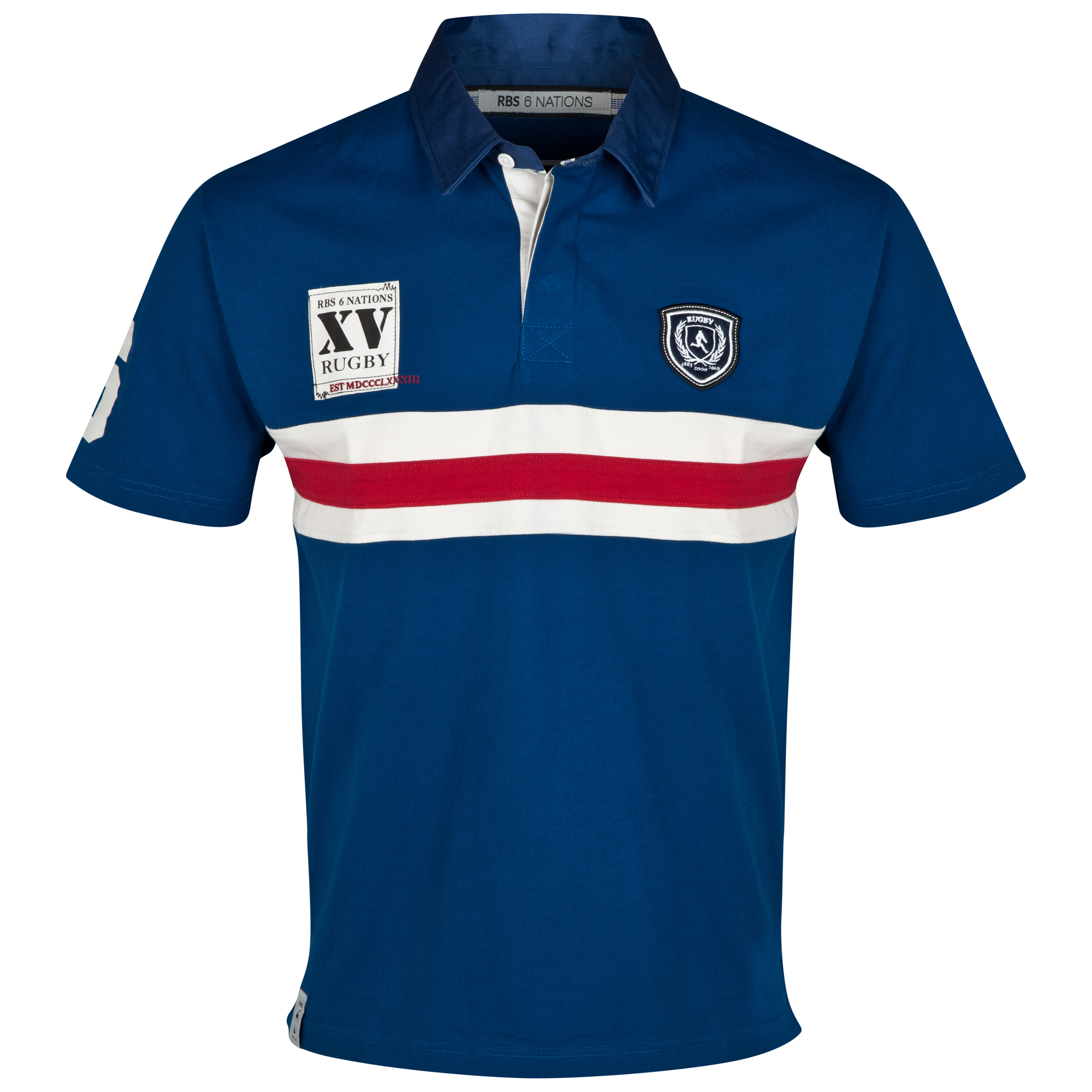 RBS Six Nations Heritage Short Sleeved Rugby Shirt - Mens - Blue