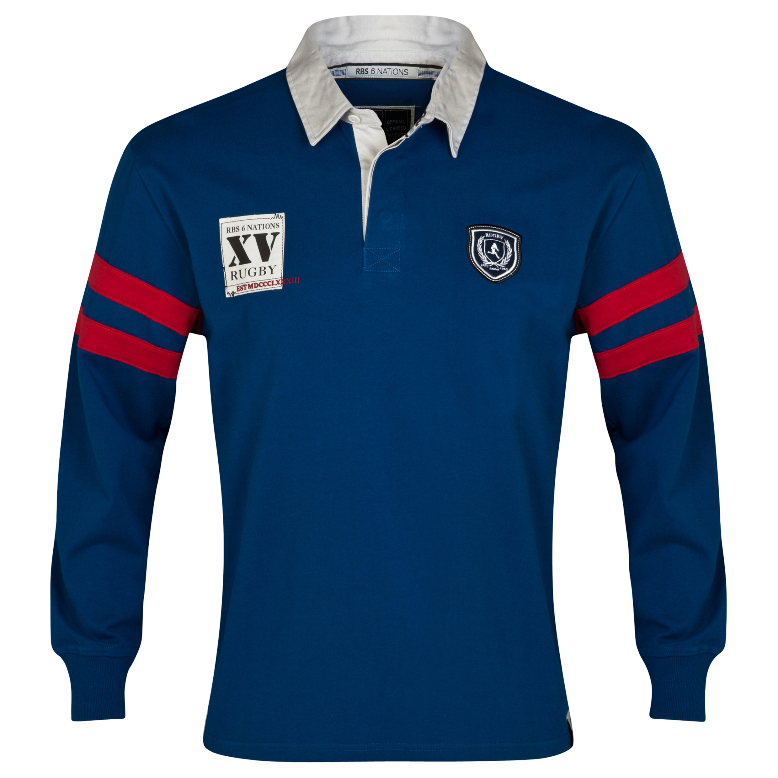 RBS Six Nations Heritage Long Sleeved Rugby Shirt - Mens - Blue