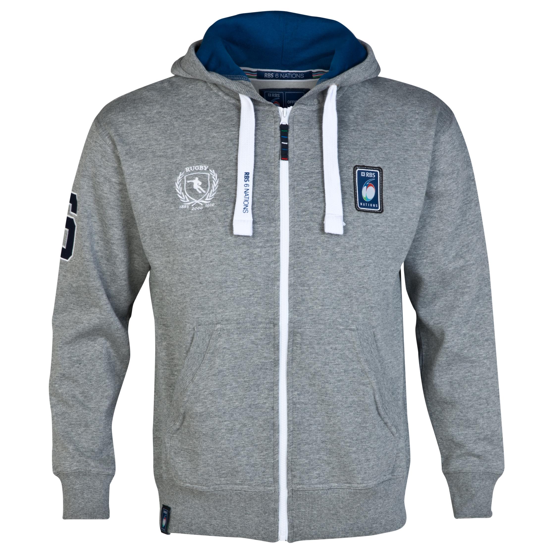RBS Six Nations Classic Full Zip Hoody - Mens - Grey