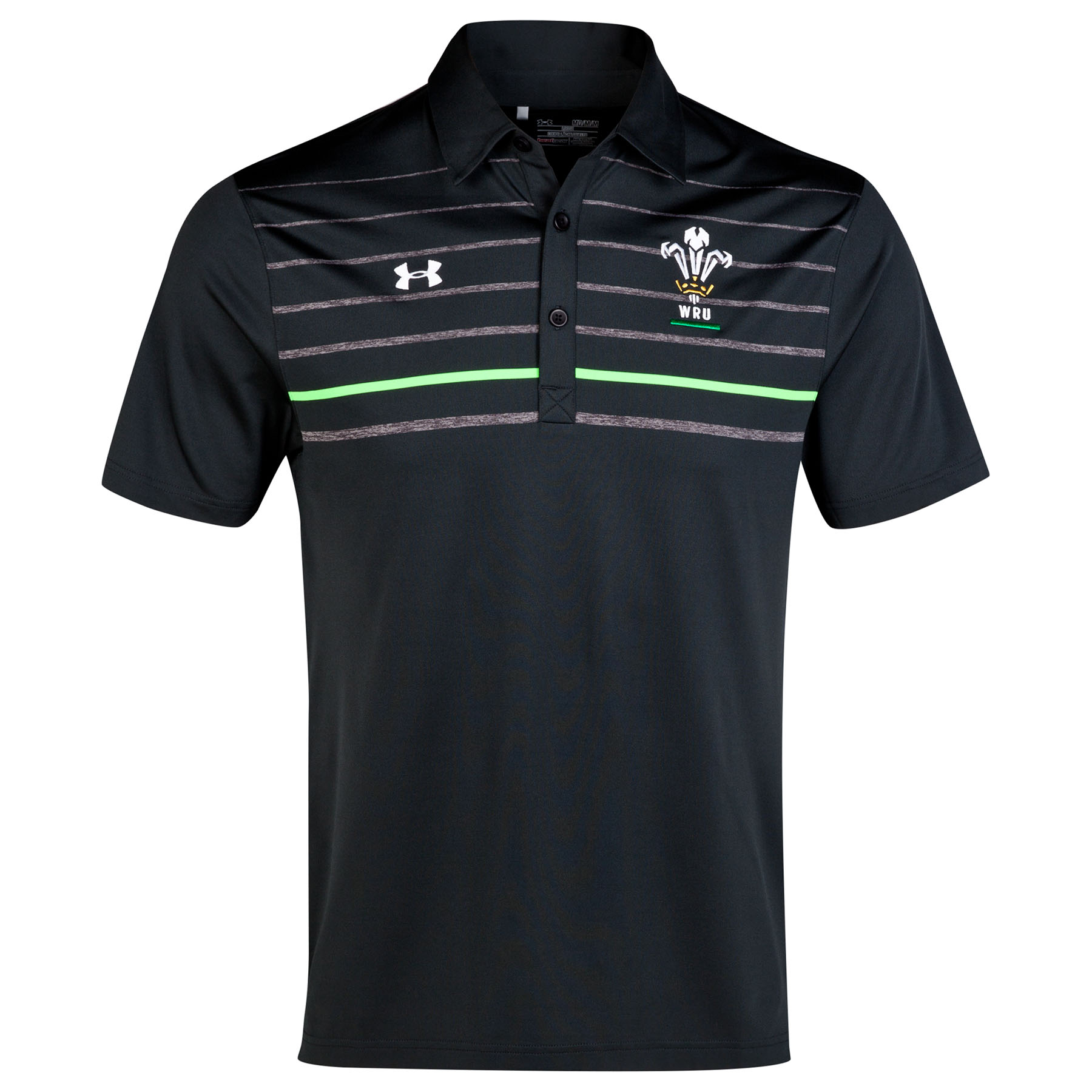 Wales Rugby Union Operative Stripe Polo 2014/15 Black