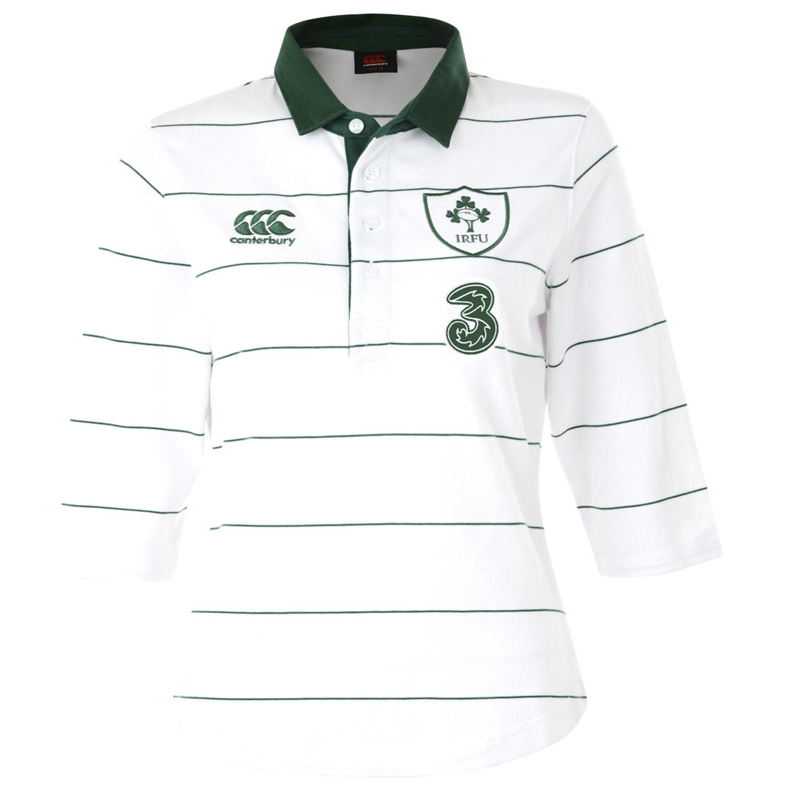 Ireland Alternate Classic 3/4 Sleeve Rugby Shirt 2014/15 - Womens White