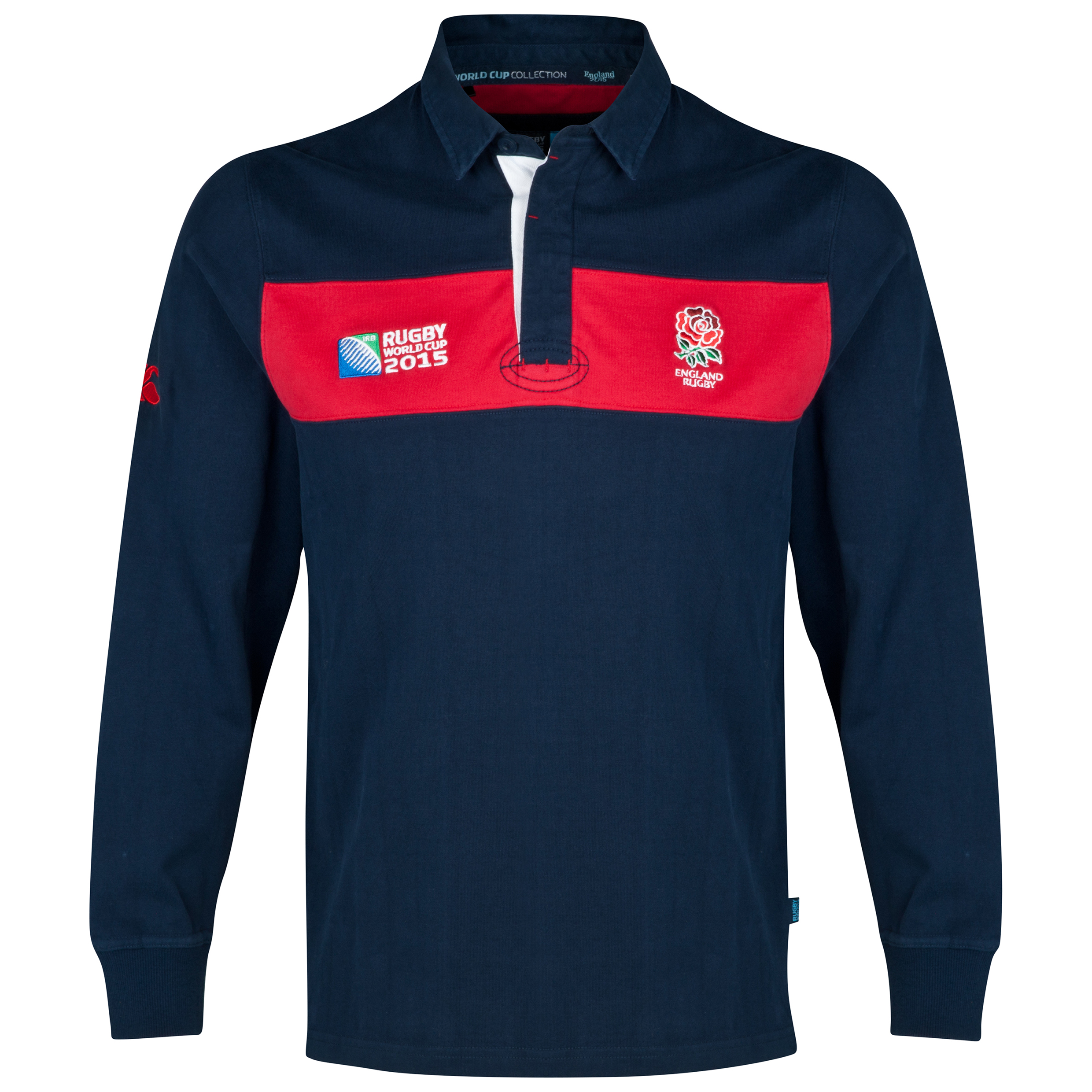 Canterbury Rugby World Cup England Rose Chestband Long Sleeve Rugby Jersey Navy
