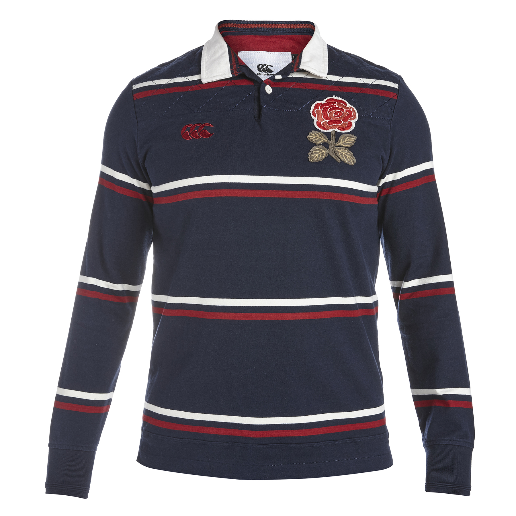 England Rugby 1871 Long Sleeve Stripe Loop Collar Rugby Jersey Navy