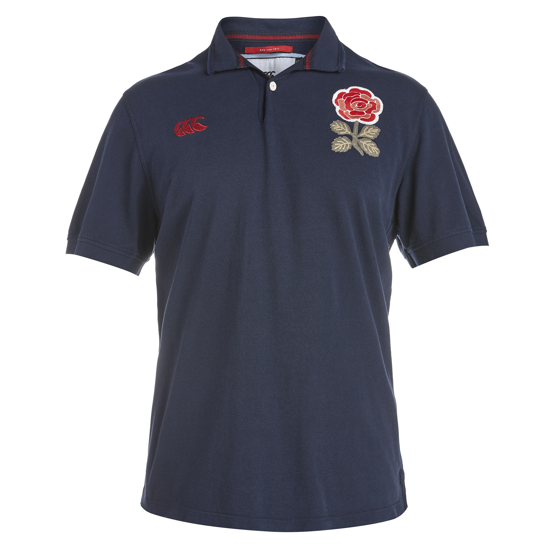 England Rugby 1871 Short Sleeve Loop Collar Pique Polo Navy