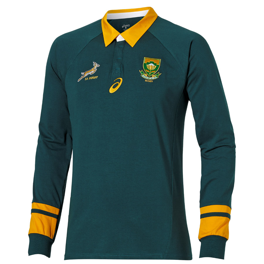 South Africa Springboks Rugby 2015 Classic Fan Long Sleeve Jersey Gree