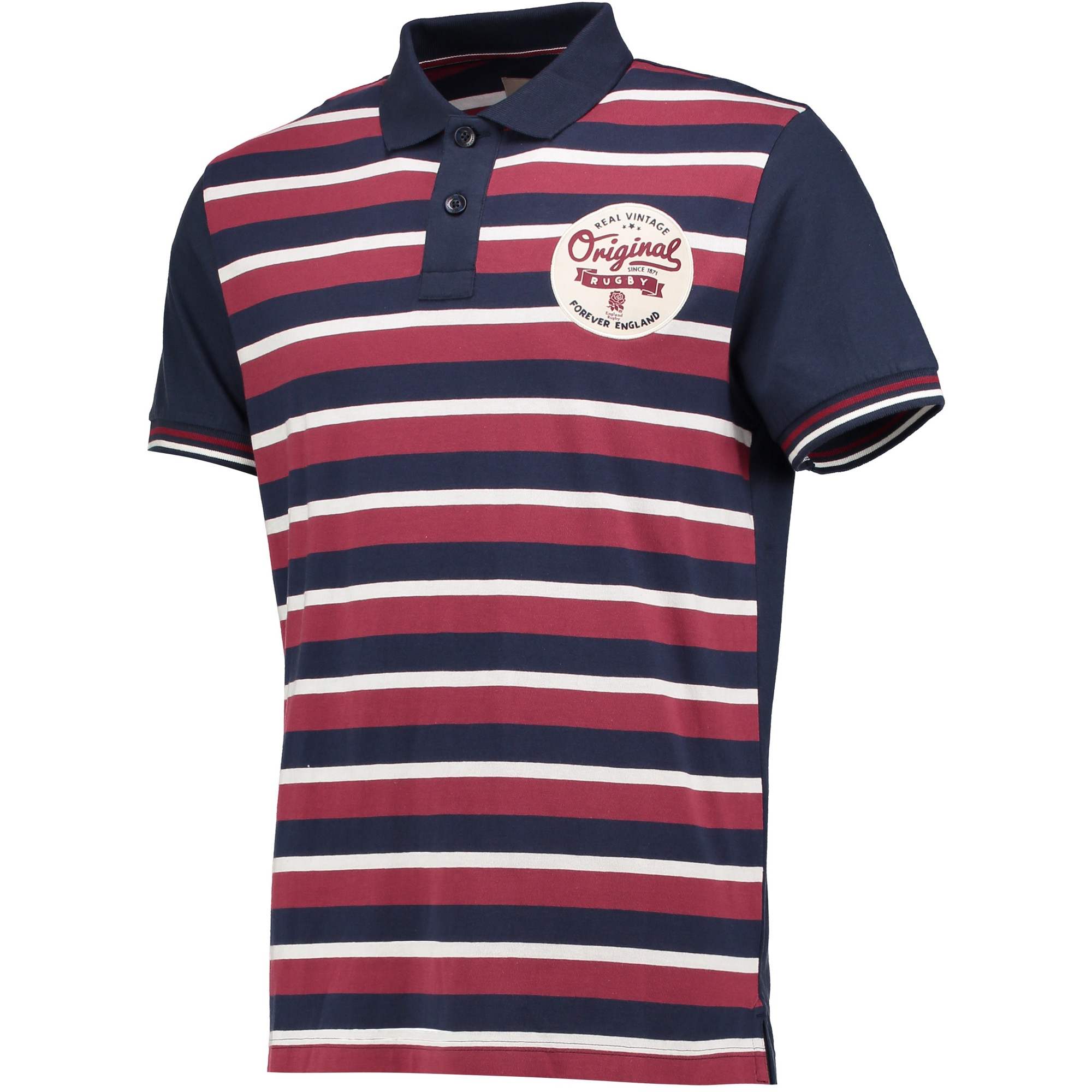 "Image of ""England Authentics Real Vintage Stripe Polo - Navy/Red"""