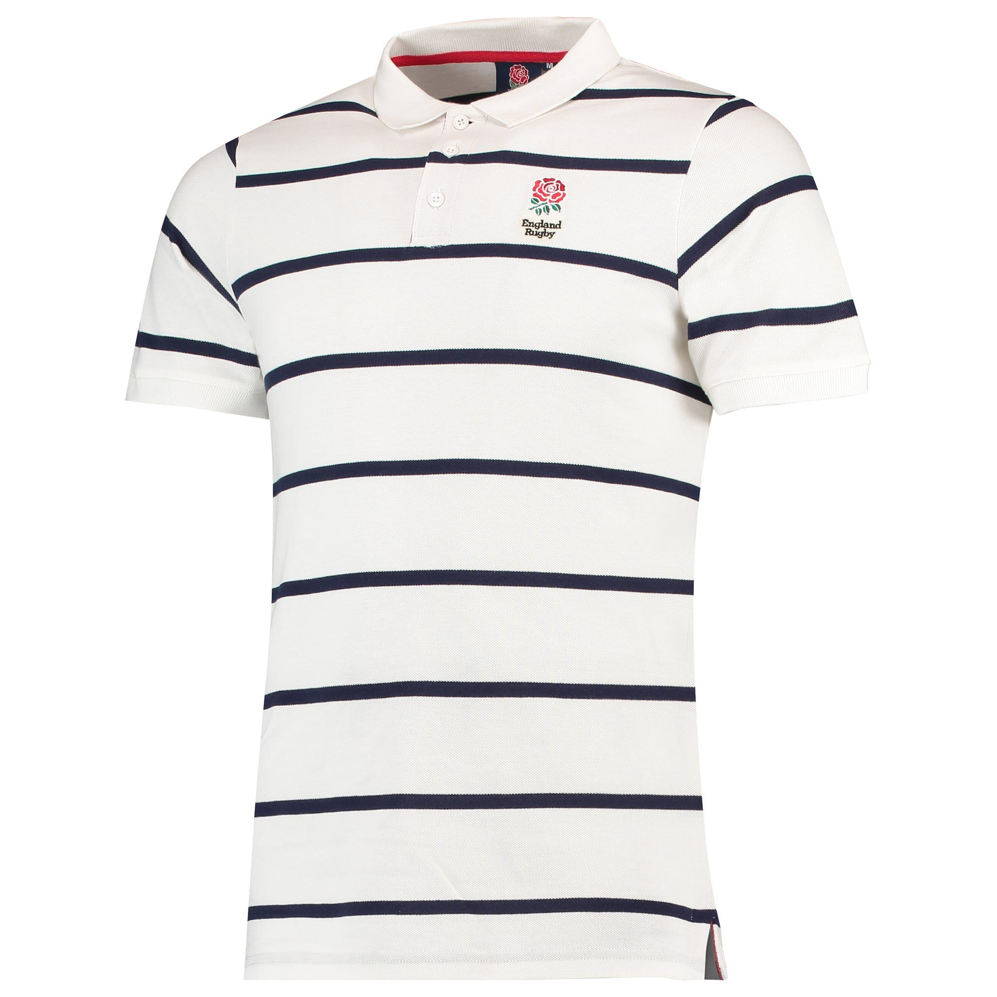 """Image of """"England Classic Hooped Pique Polo - White - Mens"""""""