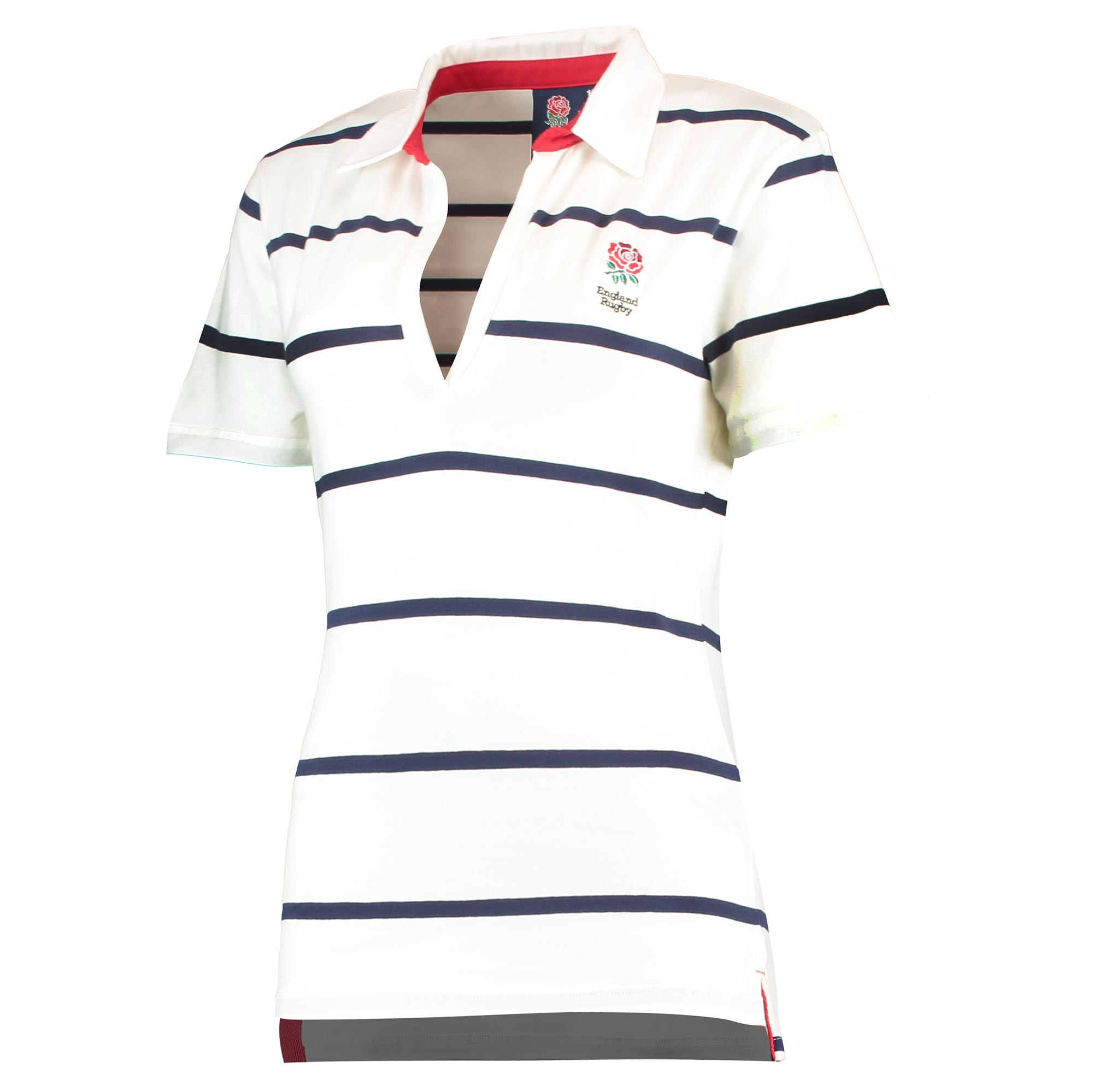 """Image of """"England Classic Hooped V Neck SS Rugby - White - Womens"""""""