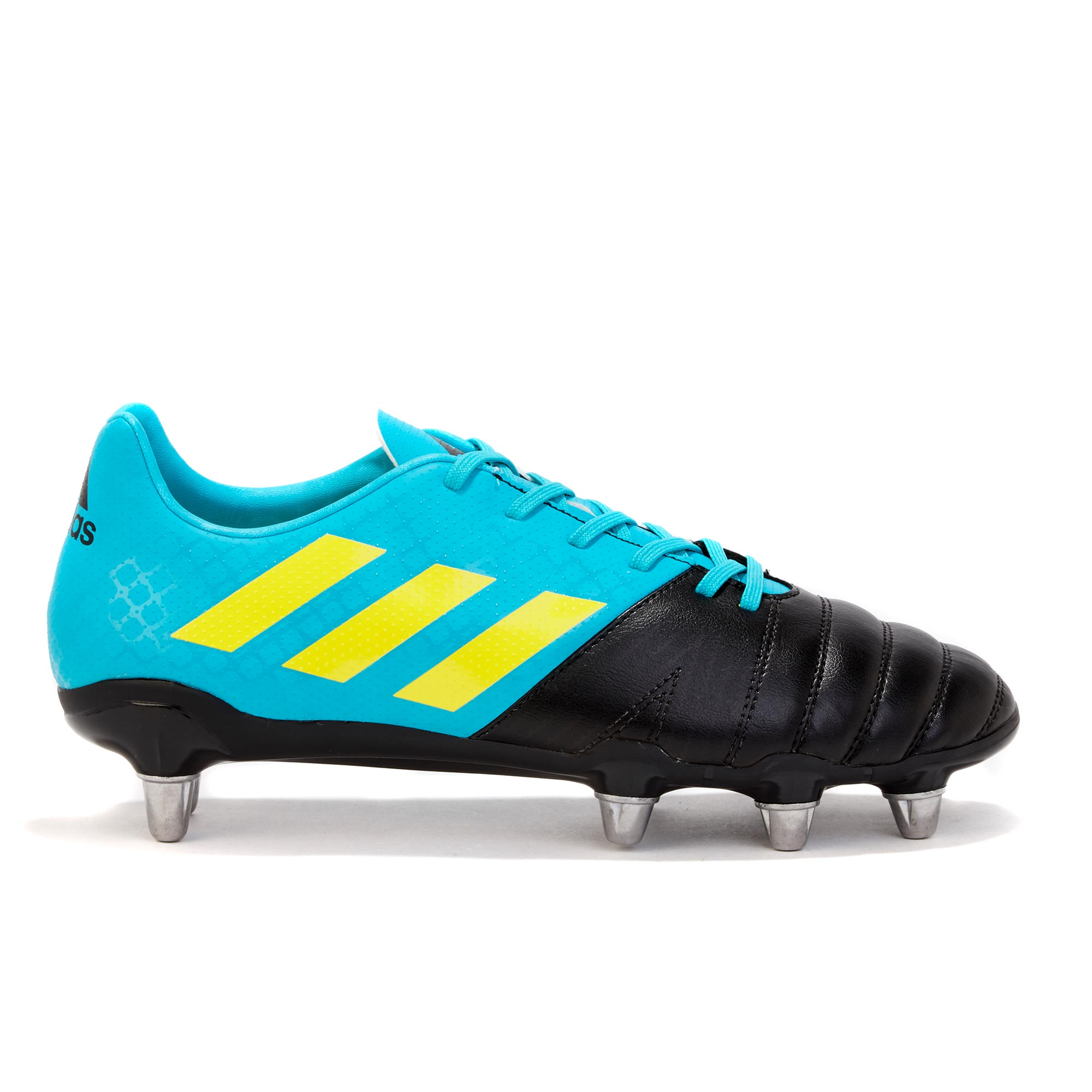 "Image of ""adidas Kakari - Soft Ground Rugby Boot - Aqua/Yellow/Black"""