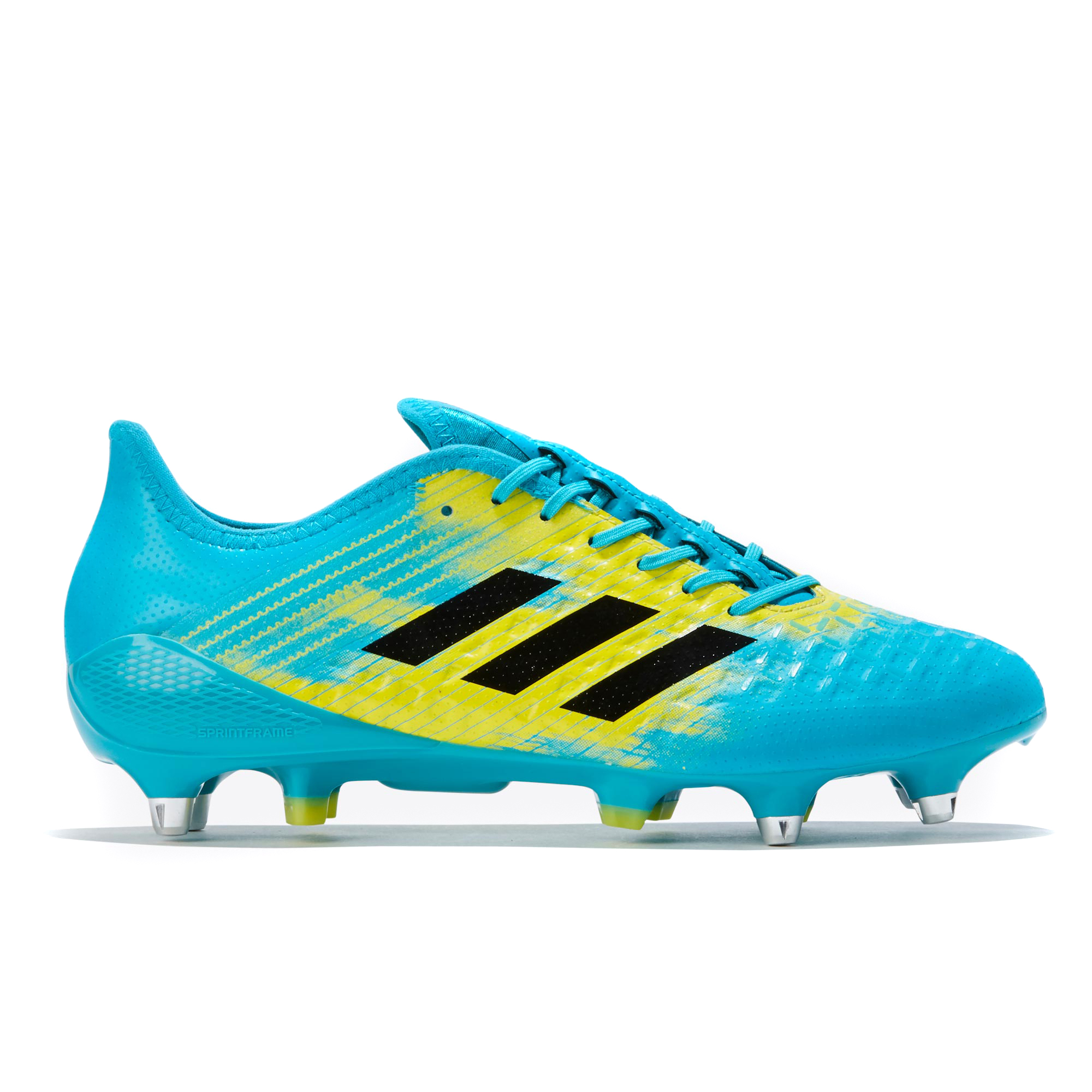 "Image of ""adidas Predator Malice Control - Soft Ground Rugby Boot - Aqua/Black/Yellow"""