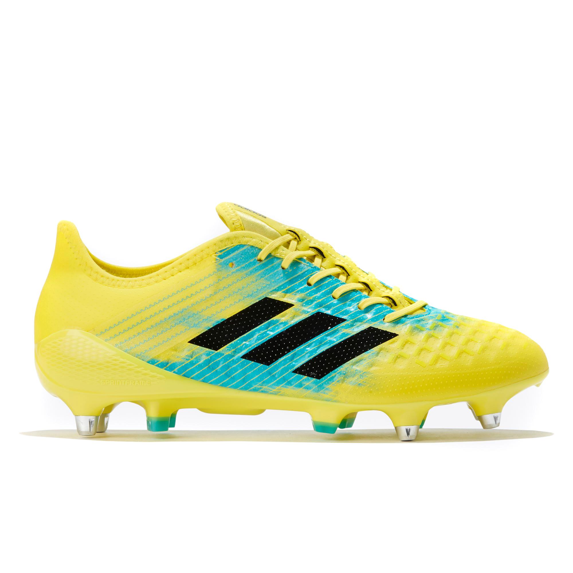 "Image of ""adidas Predator Malice Control - Soft Ground Rugby Boot - Yellow/Black/Aqua"""