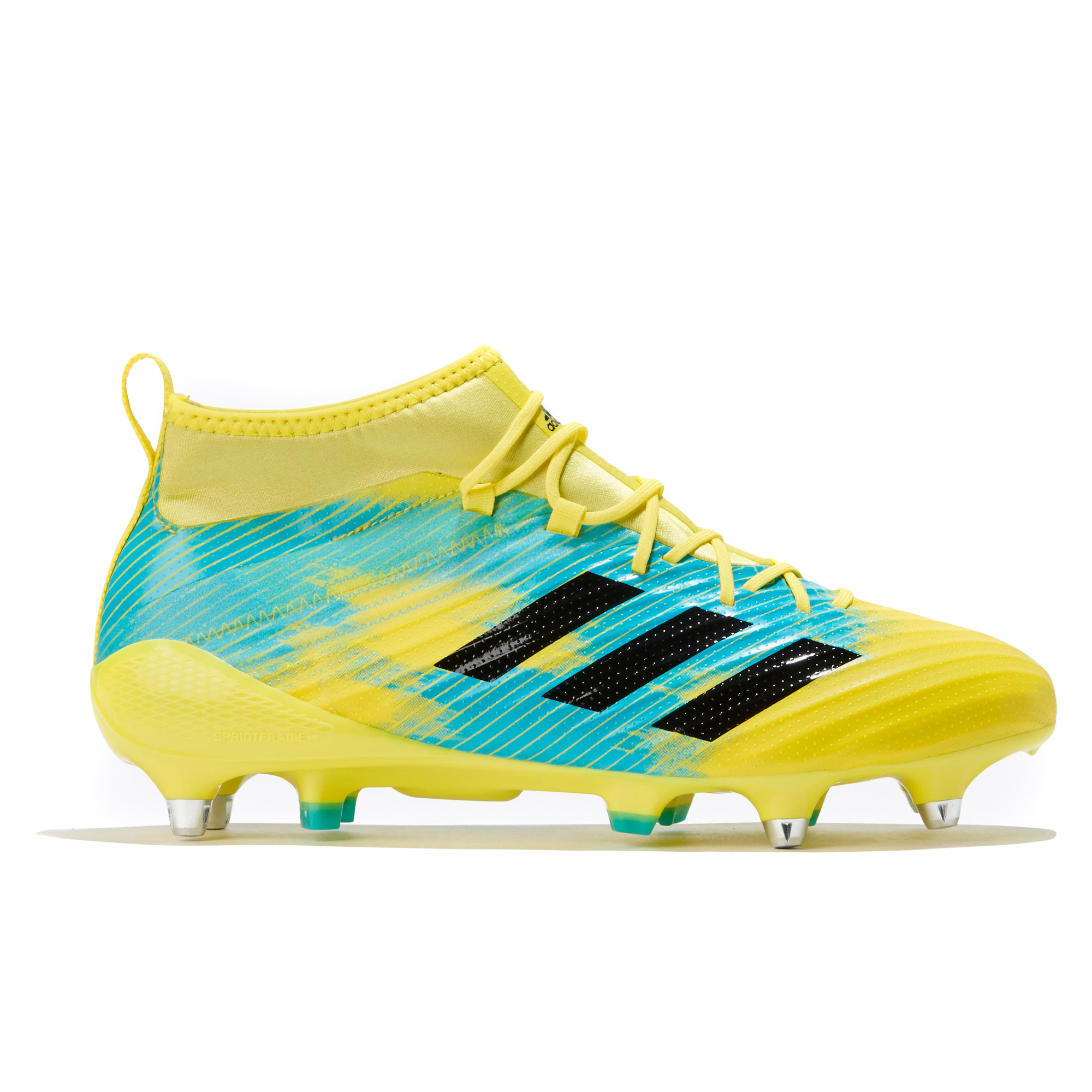 "Image of ""adidas Predator Flare - Soft Ground Rugby Boot - Yellow/Black/Aqua"""