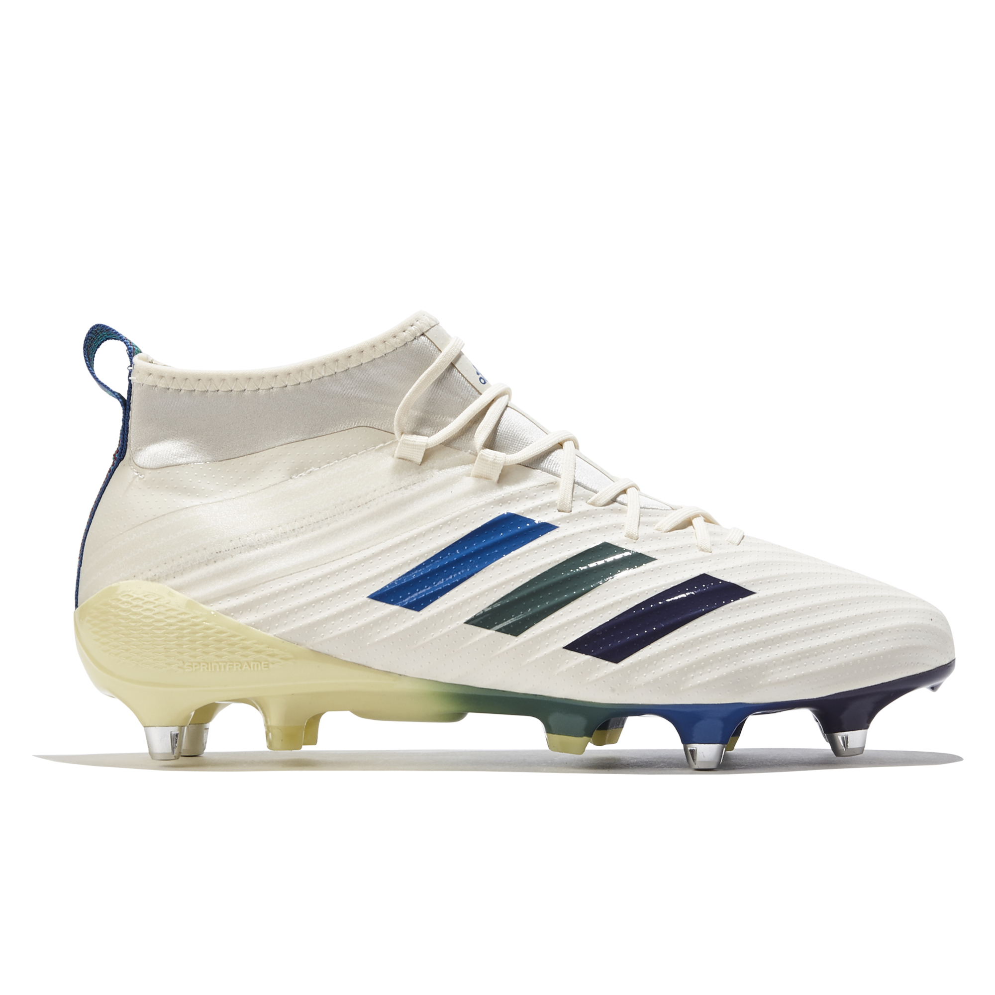 """Image of """"adidas Predator Flare - Soft Ground Rugby Boot - Cream White/Ice Yellow/Trace Green"""""""