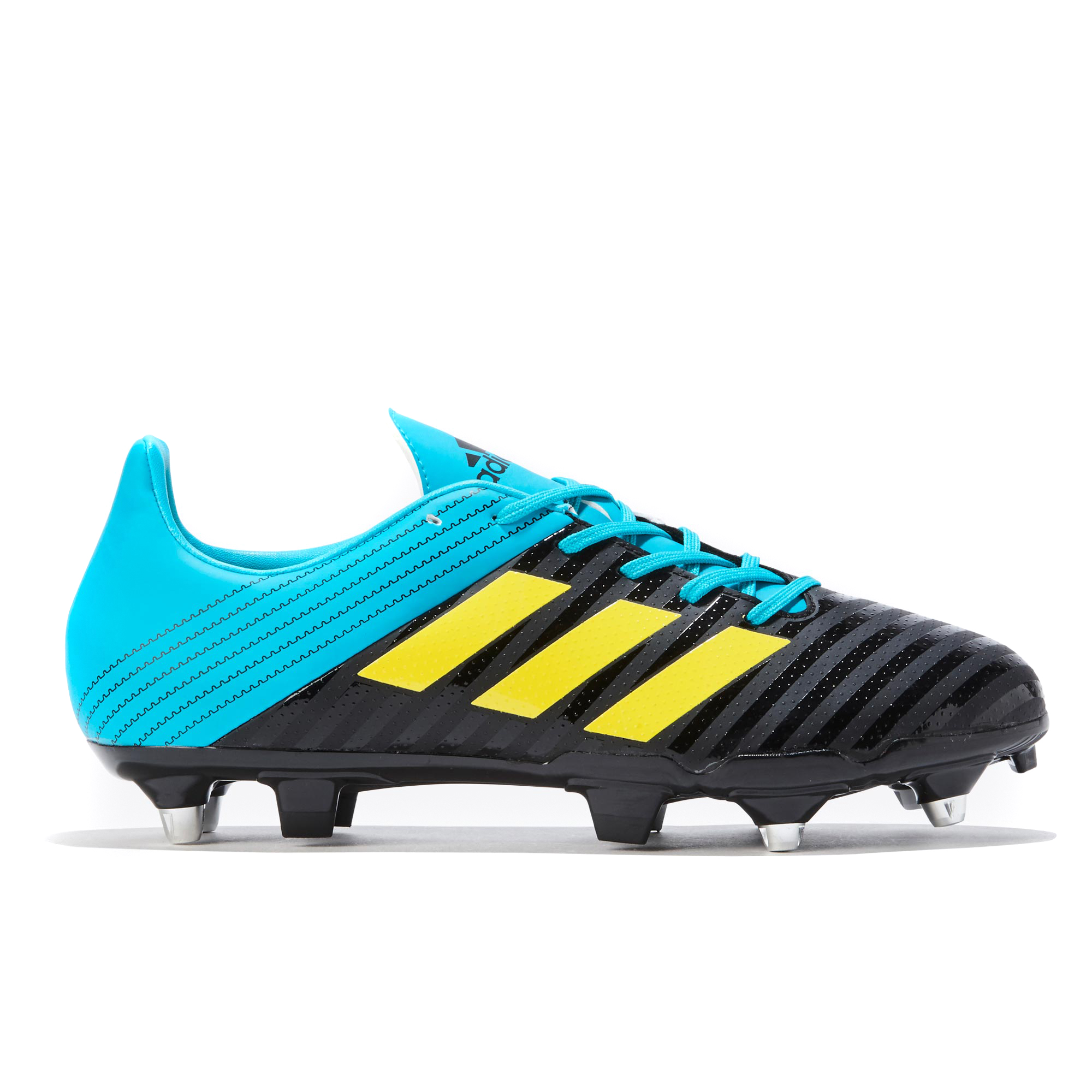 "Image of ""adidas Malice - Soft Ground Rugby Boot - Black/Yellow/Aqua"""