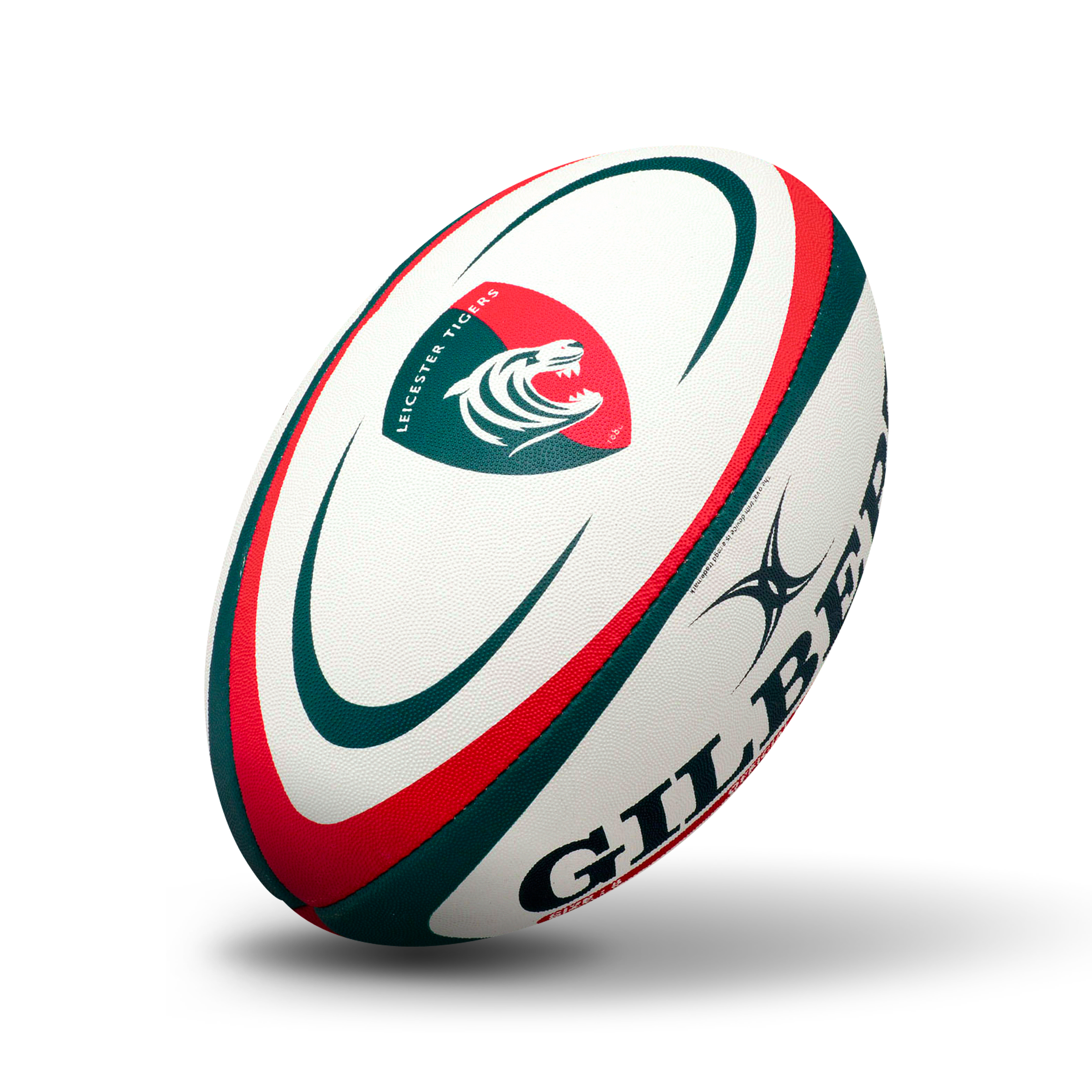 Gilbert Leicester Tigers Rugby Ball - Green/Red - Size