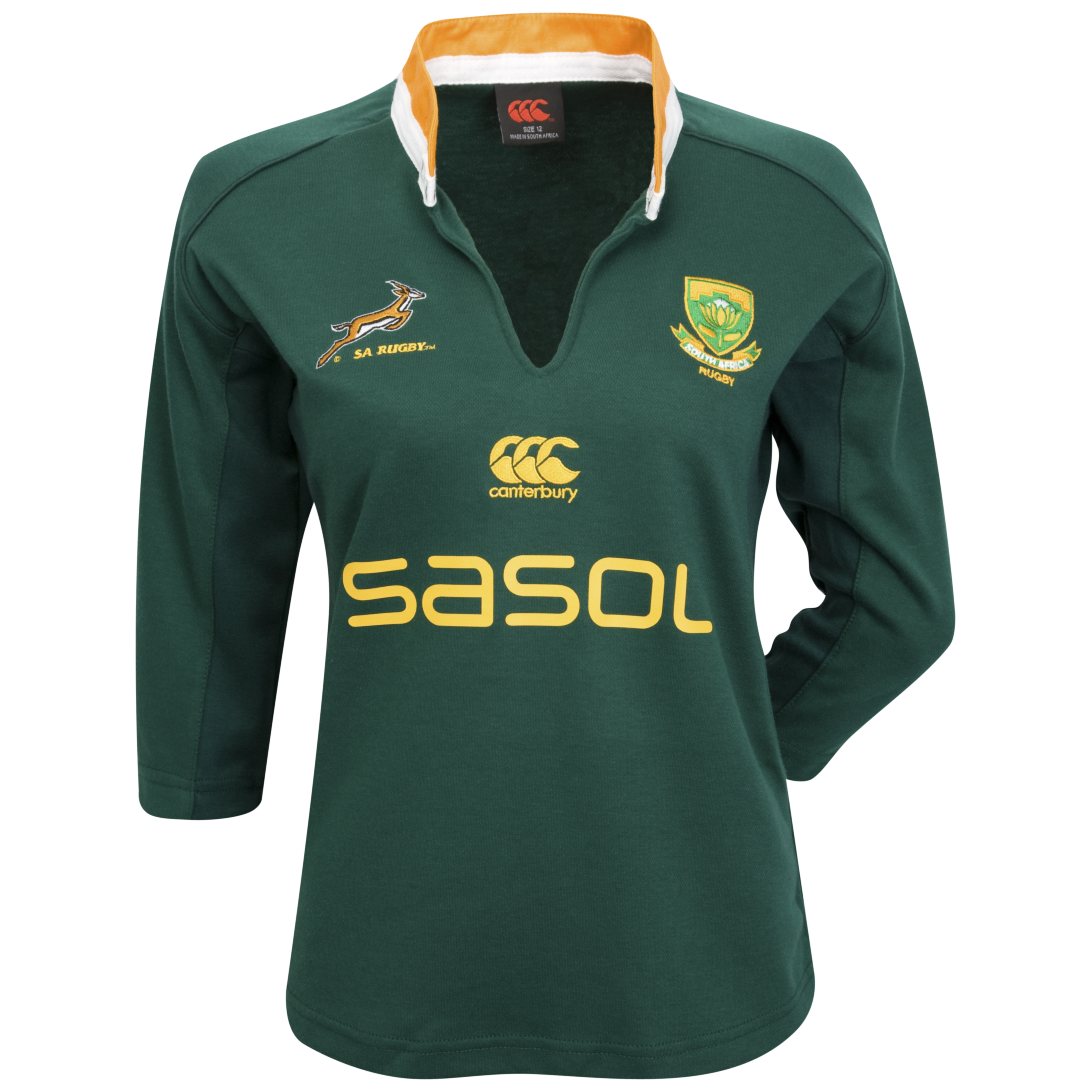 Springbok Supporters 3/4 Sleeve Rugby Shirt - Womens