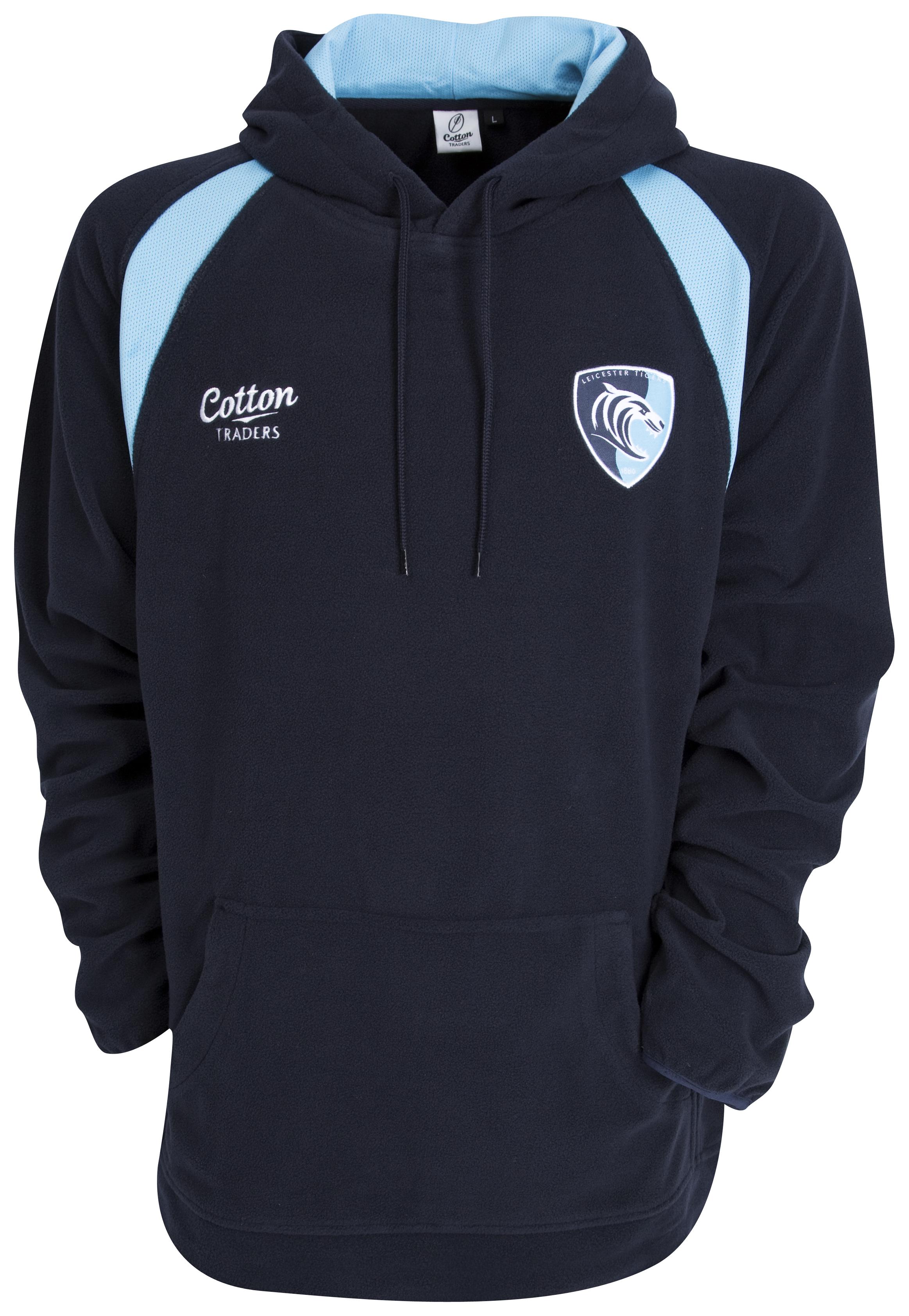 Leicester Tigers Hooded Sweatshirt - Navy/Sky