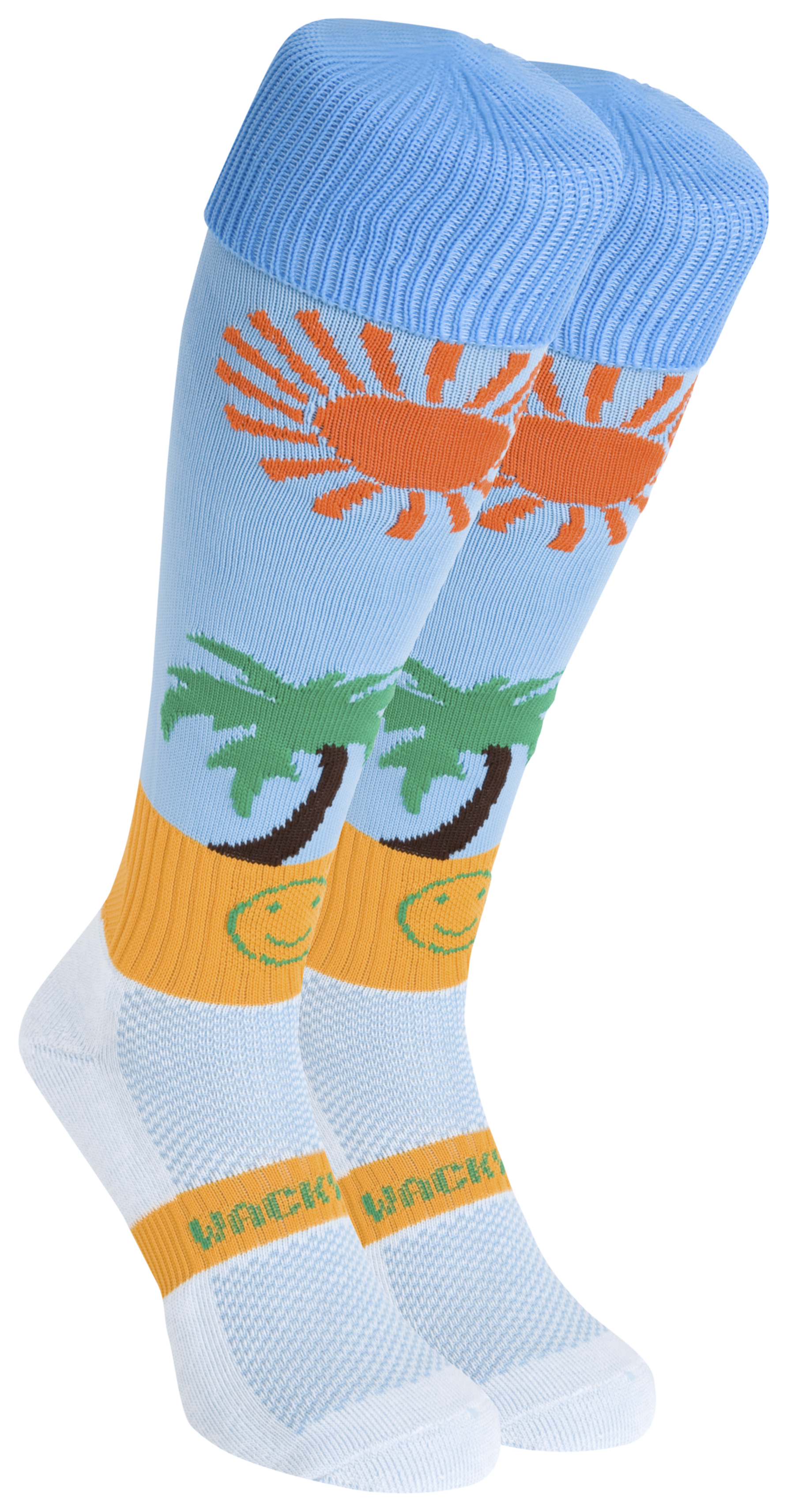 WackySox Life's A Beach Socks - Blue/Yellow/Green/Orange - Size 2-6