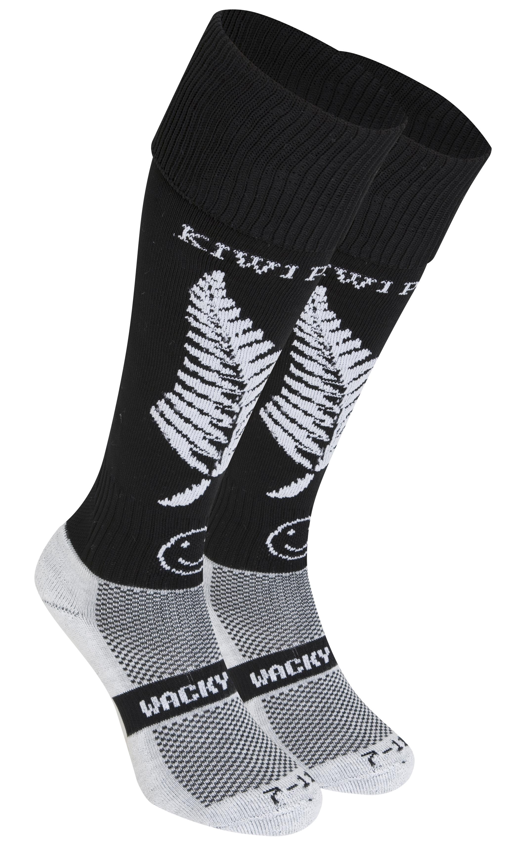 Wacky Sox New Zealand Socks - Black/White - Size 12-14