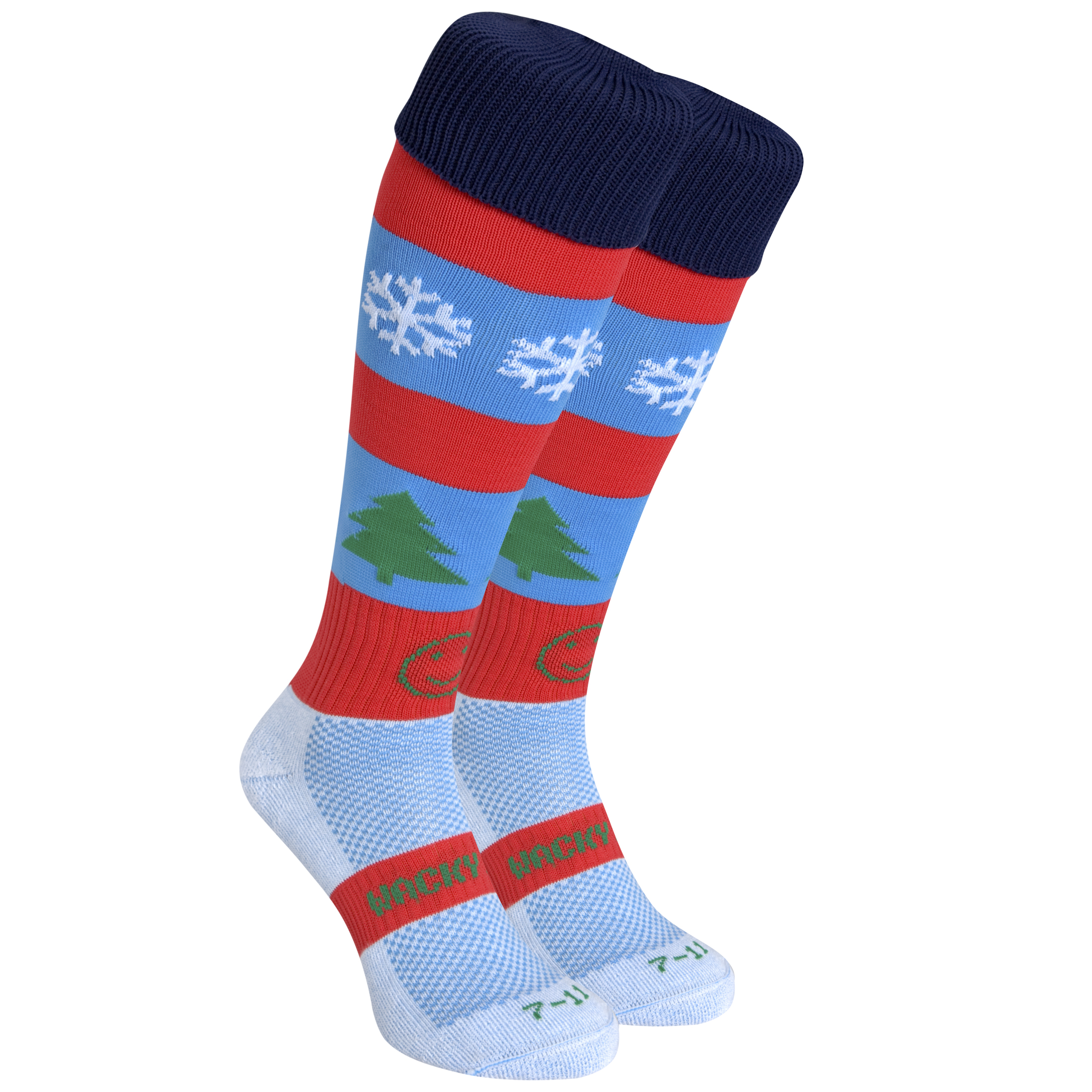 WackySox Festive Frolics Socks - Red/Black/Blue - Size 7-11