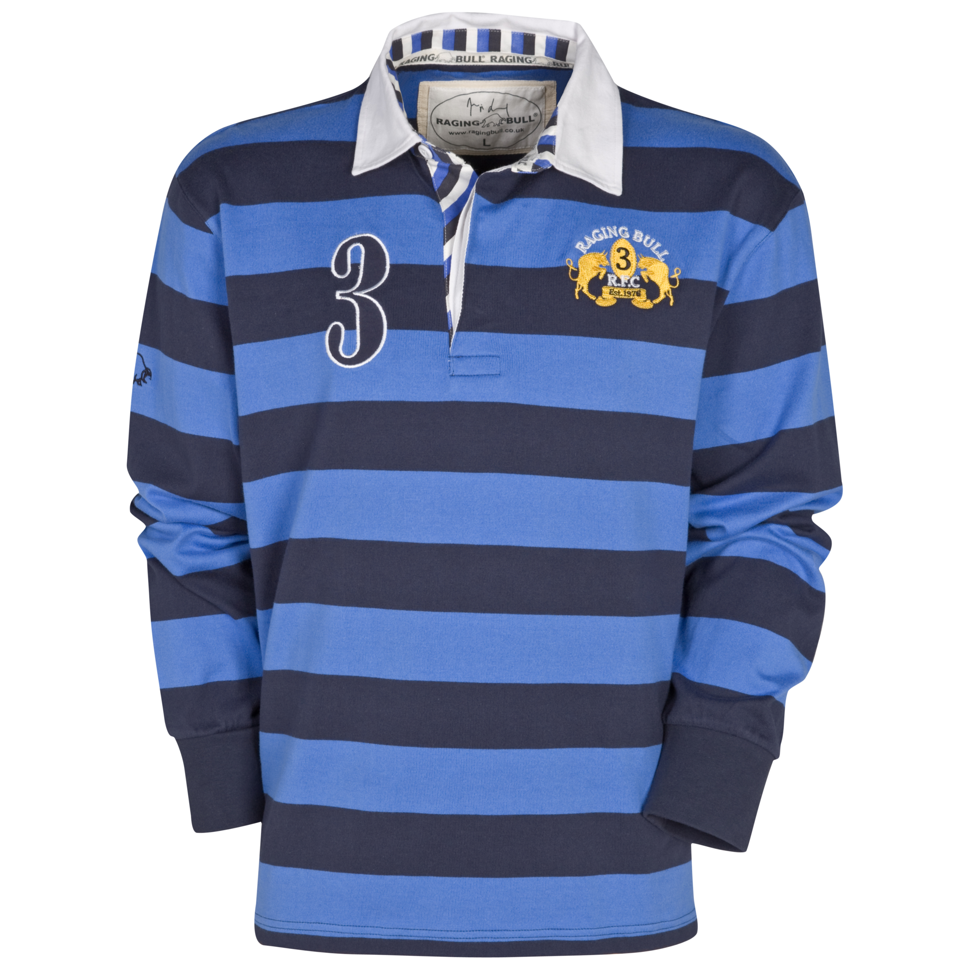 Raging Bull Striped Rugby Jersey - Navy/Cobalt. for 25€