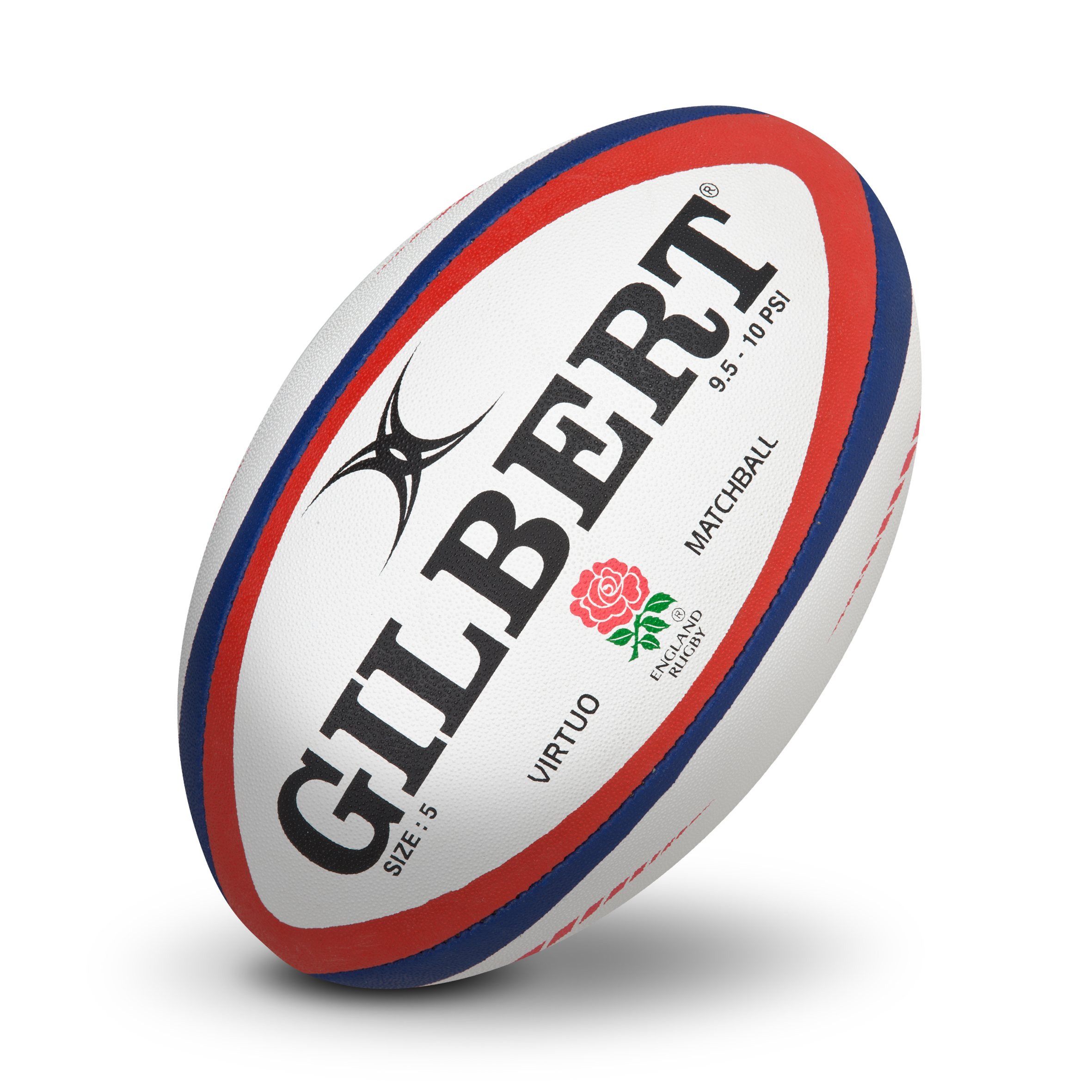 Gilbert Rugby Virtuo Official Match Ball - White/Red
