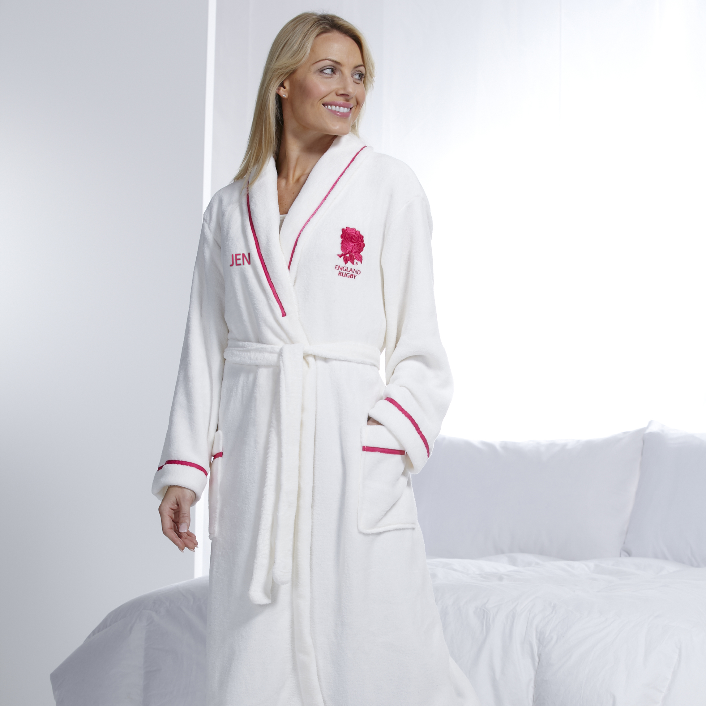 England Rugby Supersoft Fleece Robe - Womens