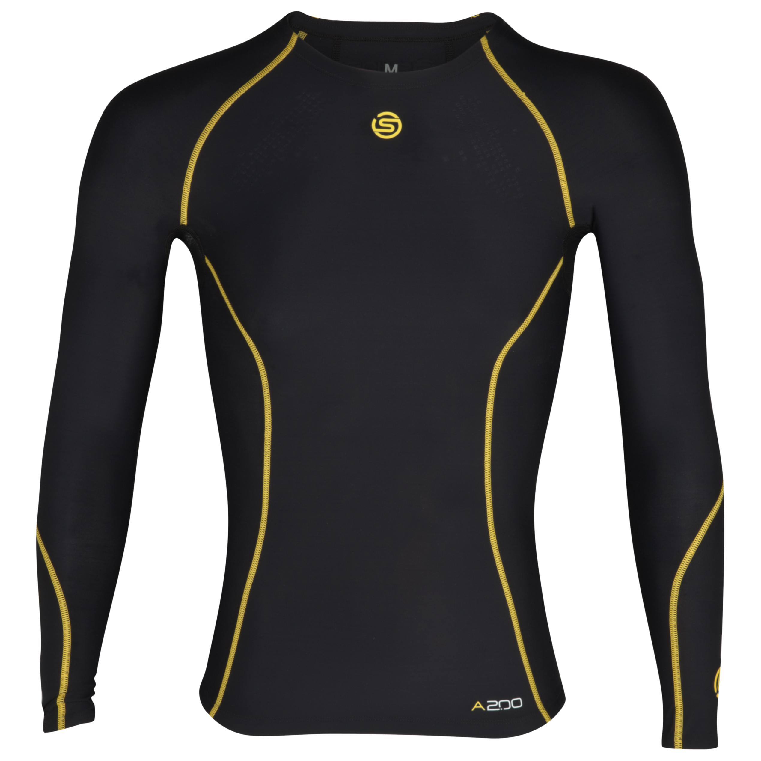 Skins A200 Long Sleeve Top - Black/Yellow - Kids