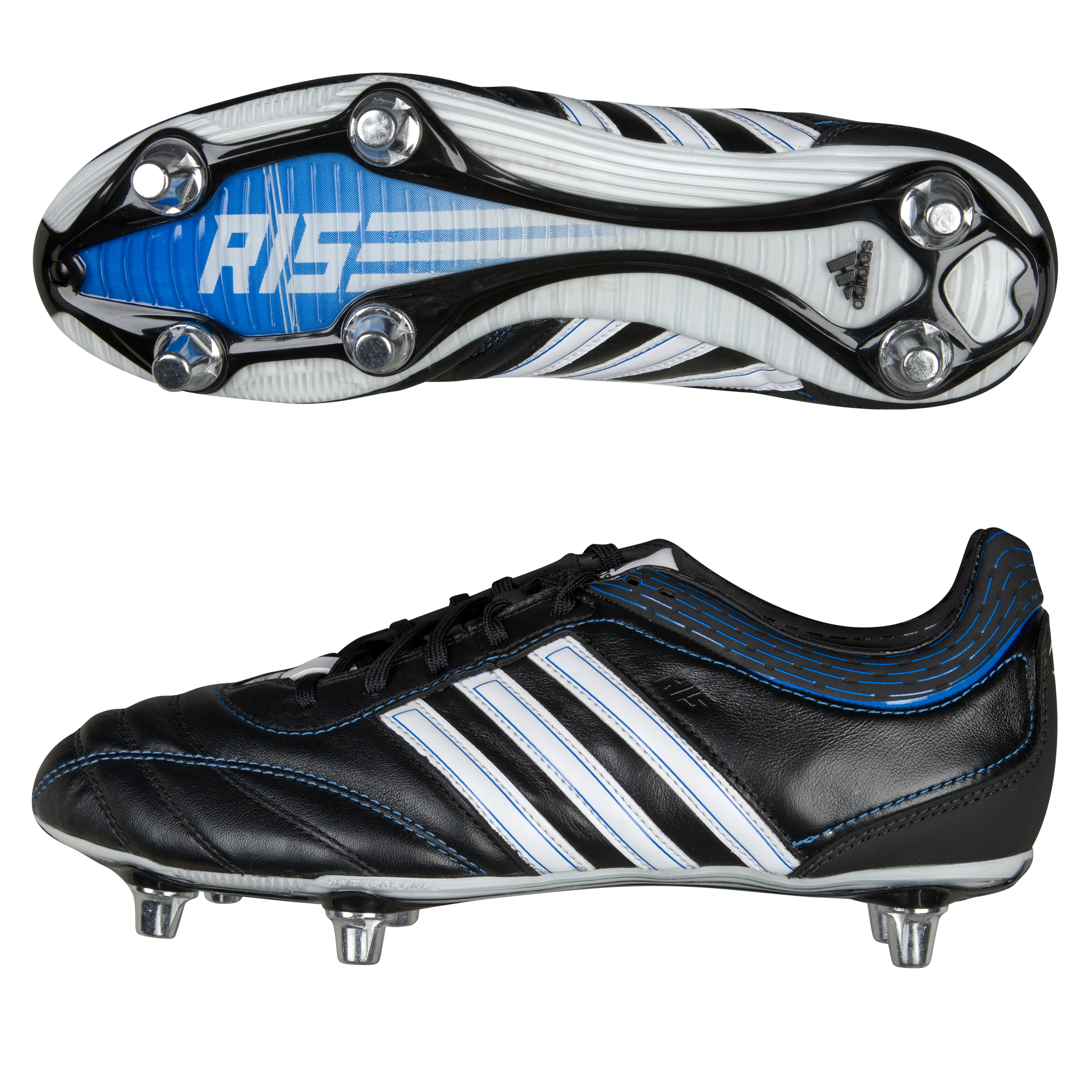 Adidas R15 Soft Ground II Leather Rugby Boots - Black / White / Prime Blue