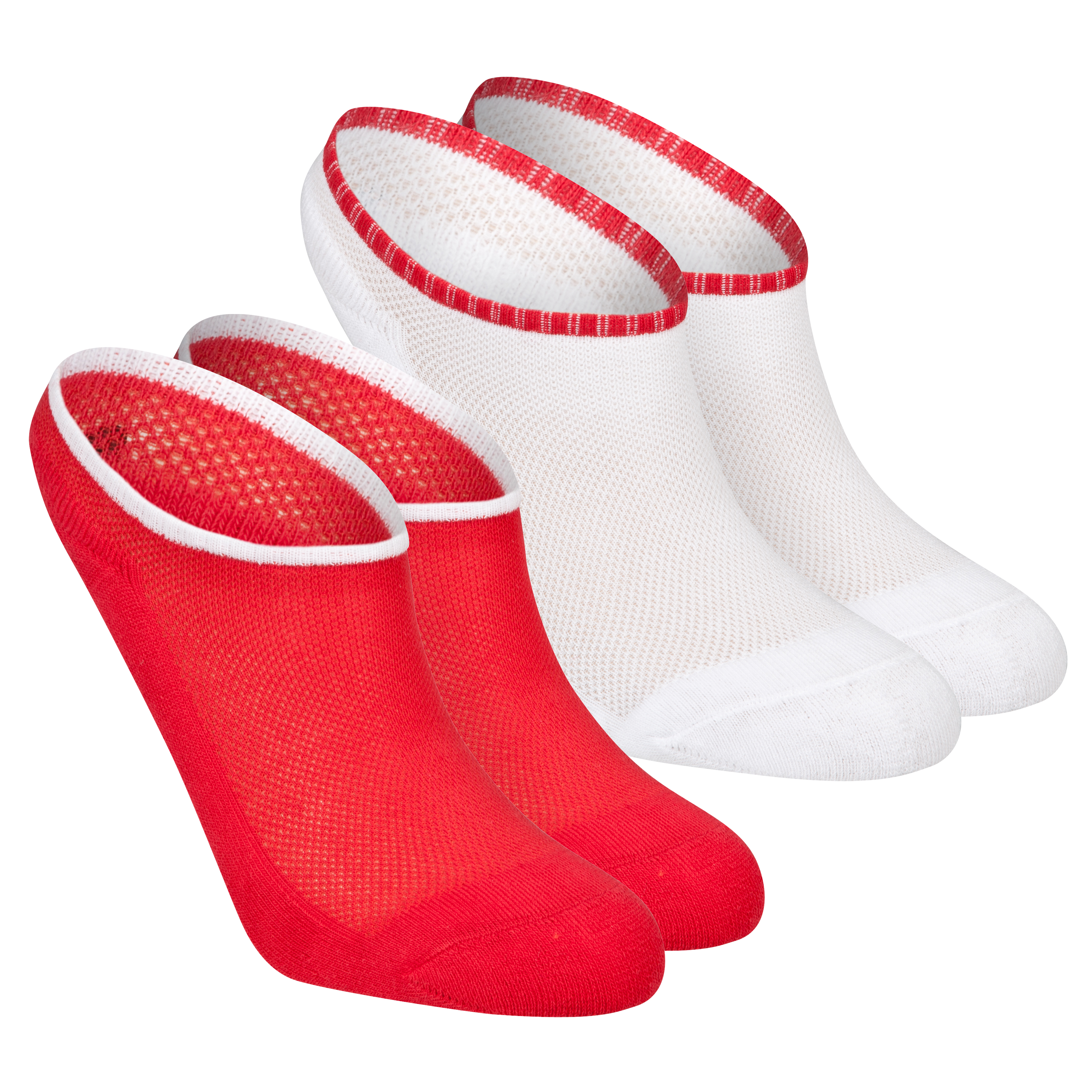 Roland-Garros 2 Pack of Core Ankle Socks - White/Red -35-38